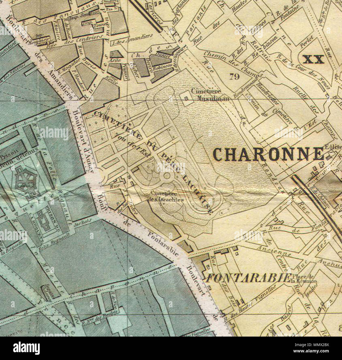 English: Detail showing the Charonne quarter and the Père