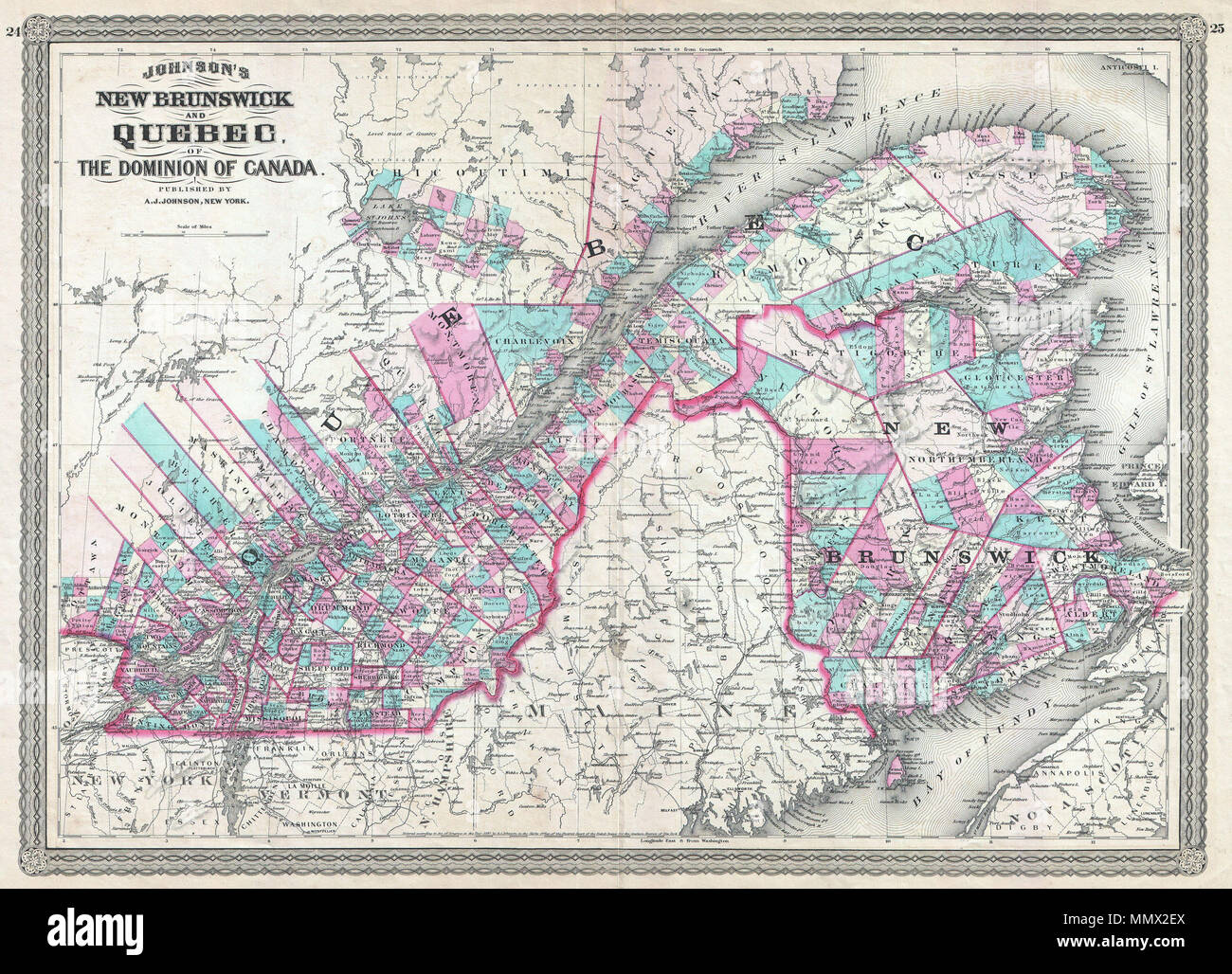 English This Is A J Johnson 1870 Map Of Quebec And New Brunswick