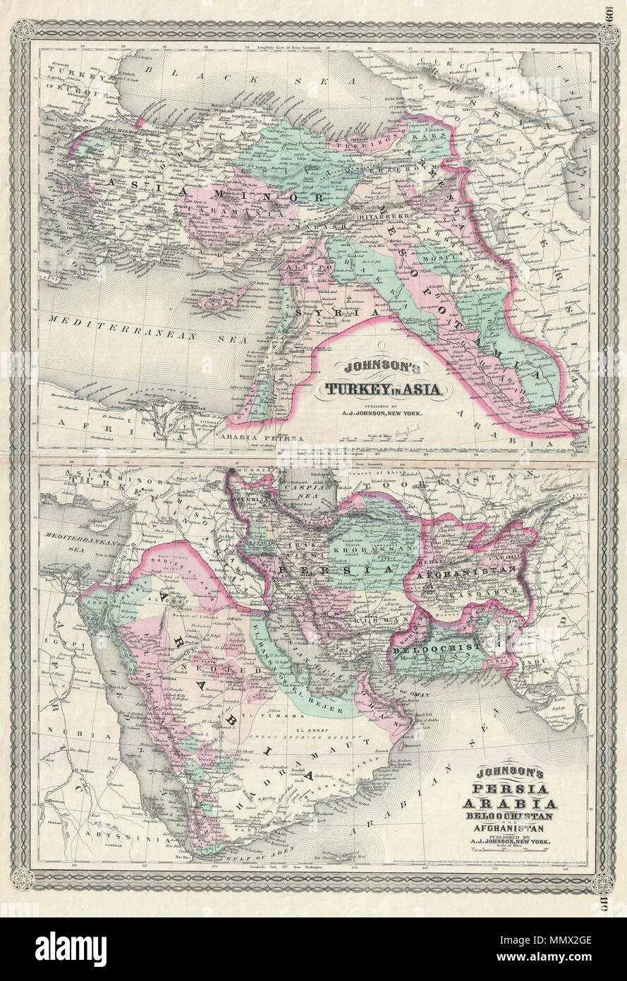 English: This is A. J. Johnson 1870 map of what is today considered on