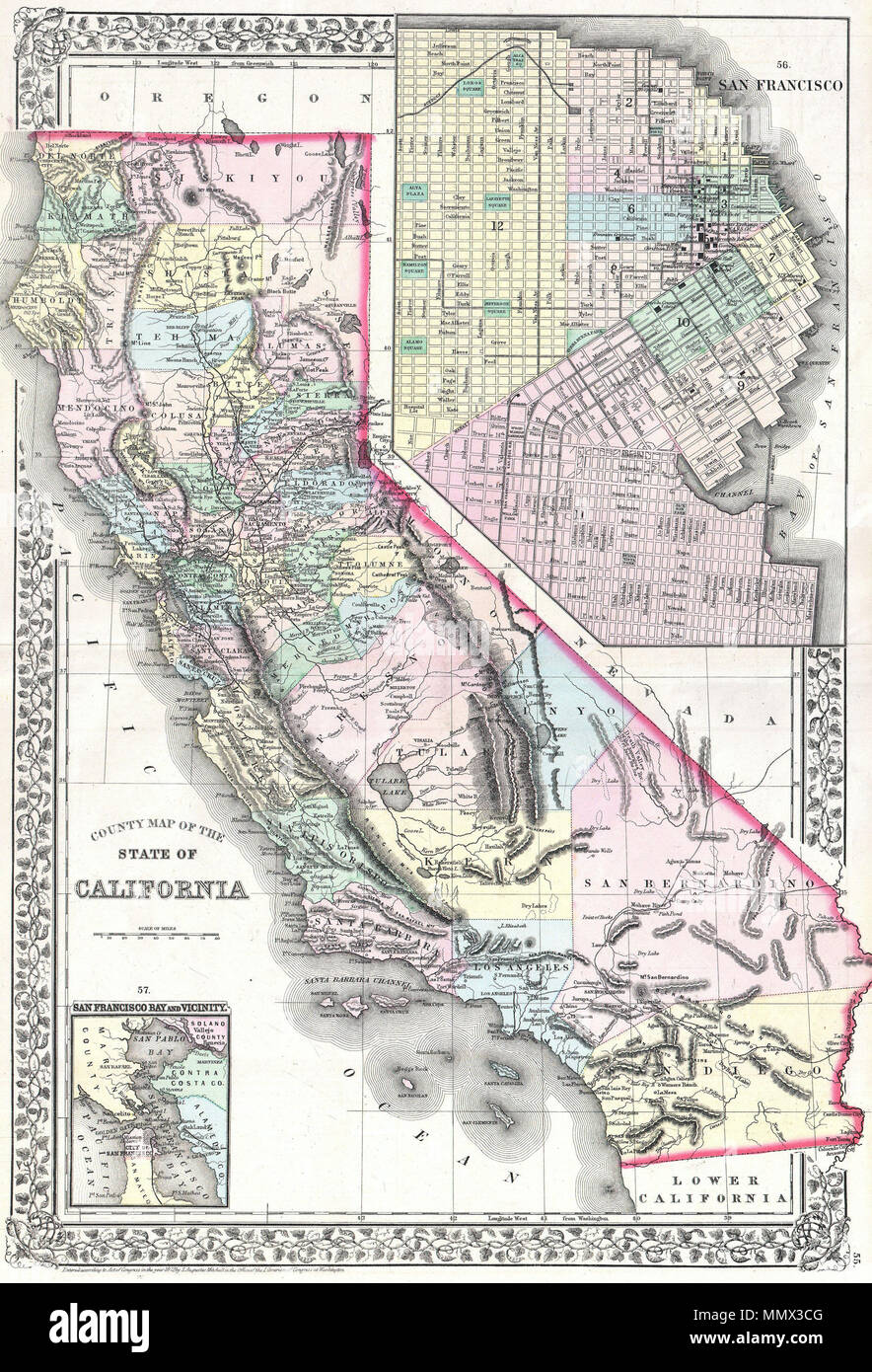 English: A beautiful example of S. A. Mitc Jr.'s 1872 ... on map go california, map la california, map cisco california, map california california,