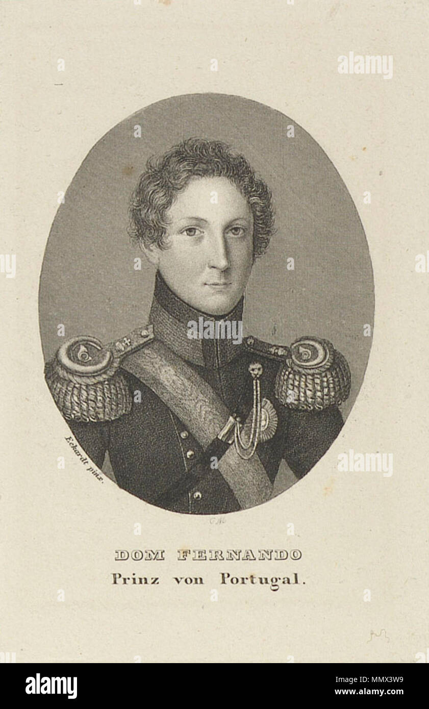 . English: Ferdinand of Saxe-Coburg and Gotha as Prince Consort of Portugal (which he was in 1836-1837, before his accession as King jure uxoris upon the birth of his first son, Peter, Prince Royal of Portugal). Dom Fernando, Prinz von Portugal (after Sebastian Eckardt) - Stock Image