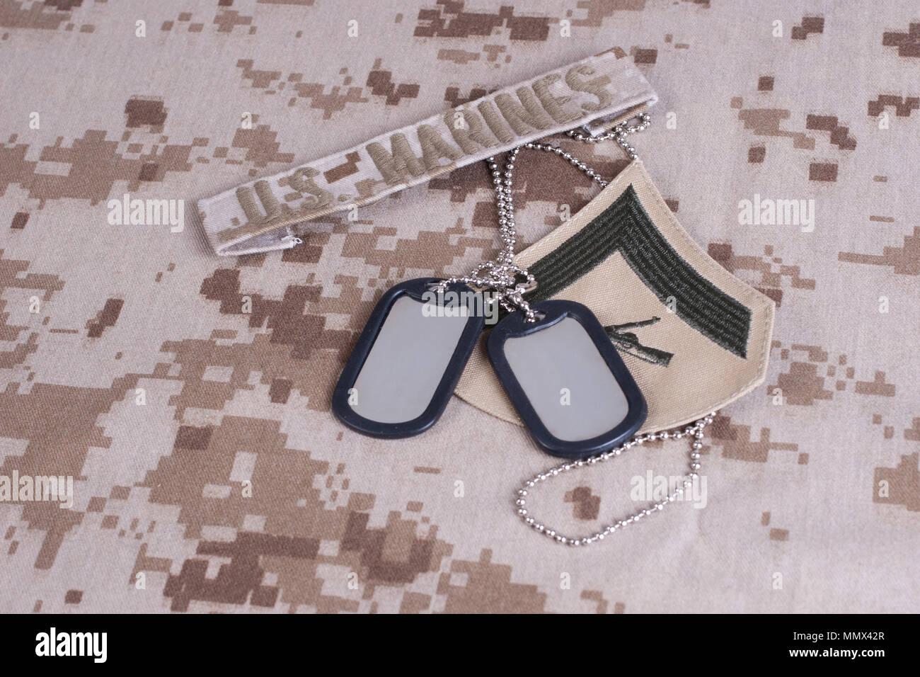 us marines camouflaged uniform with blank dog tags Stock Photo