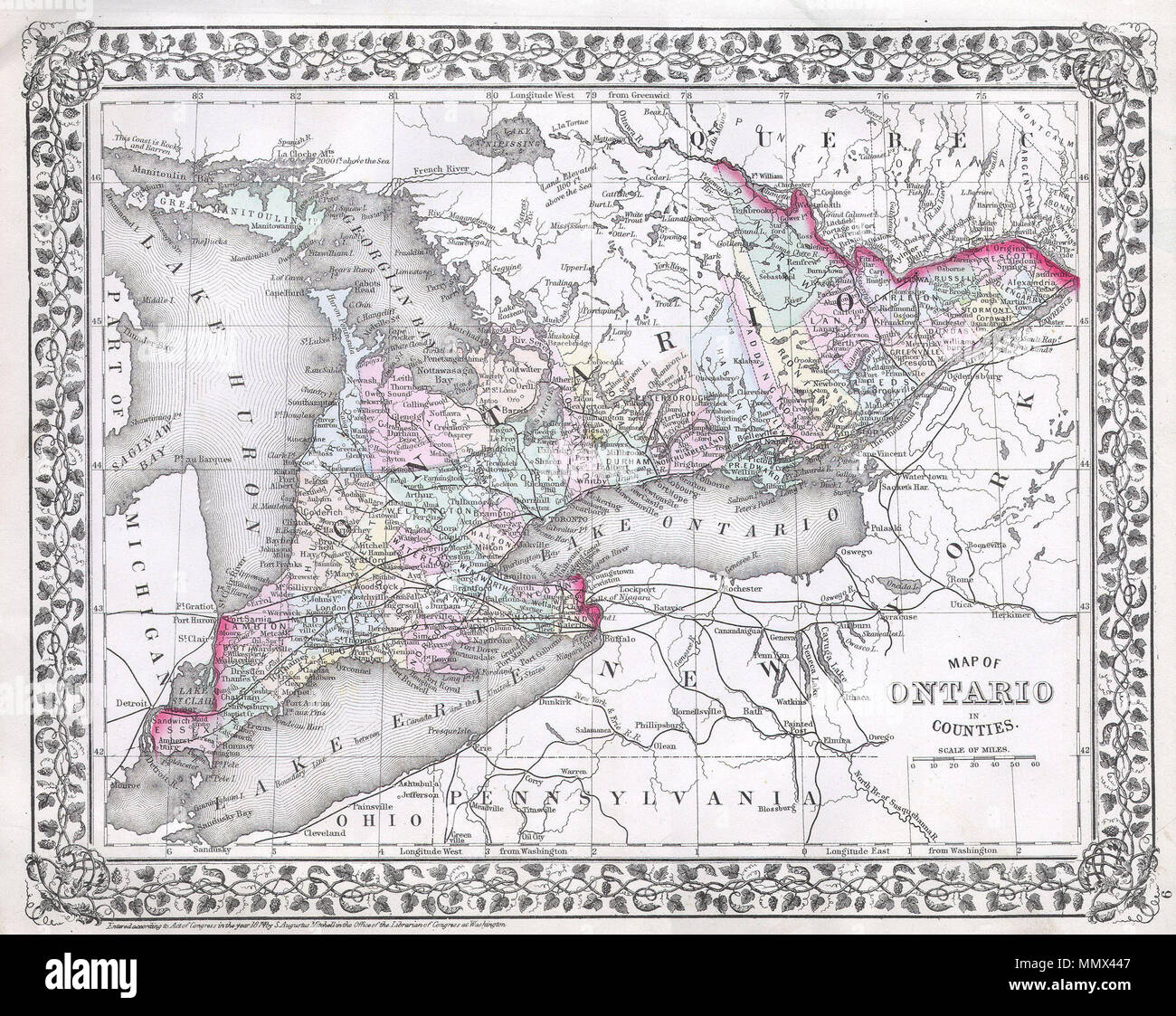 Colored Map Of Canada.English This Hand Colored Map Is A Lithographic Engraving Dating