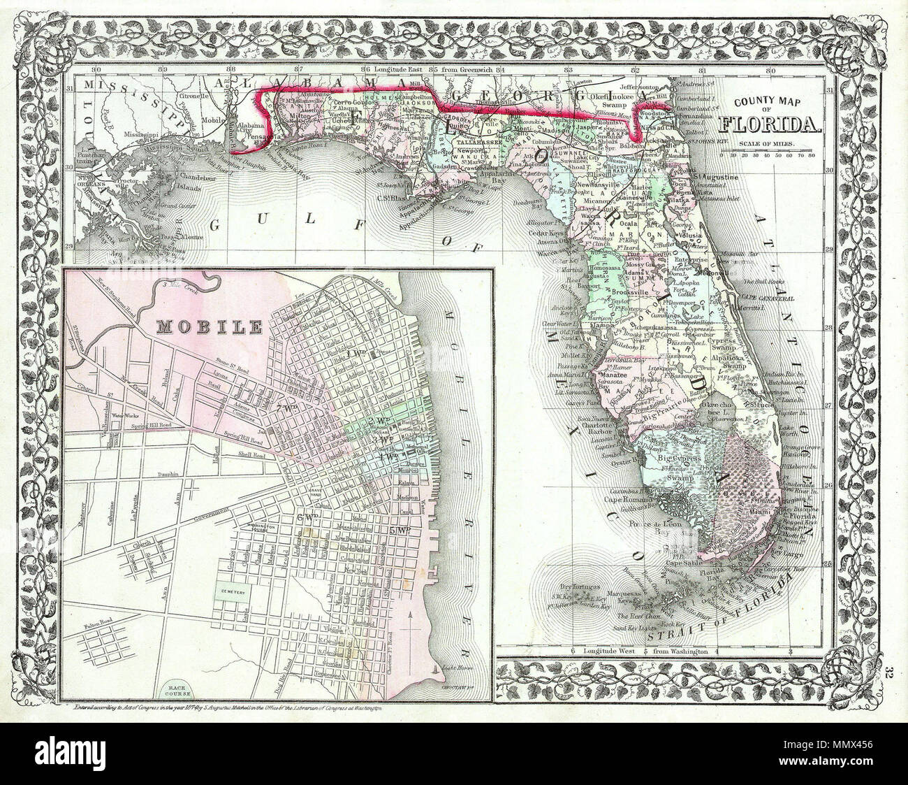 English: This hand colored antique map of Florida is a ...
