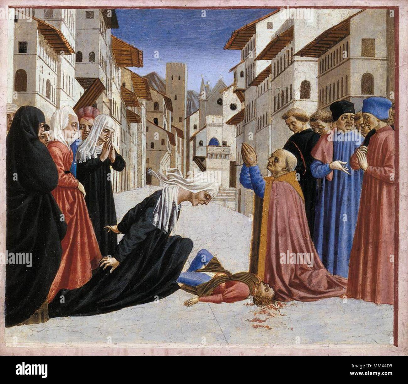 . predella 4  St Zenobius Performs a Miracle. circa 1445. Domenico Veneziano - St Zenobius Performs a Miracle (predella 4) - WGA06435 - Stock Image