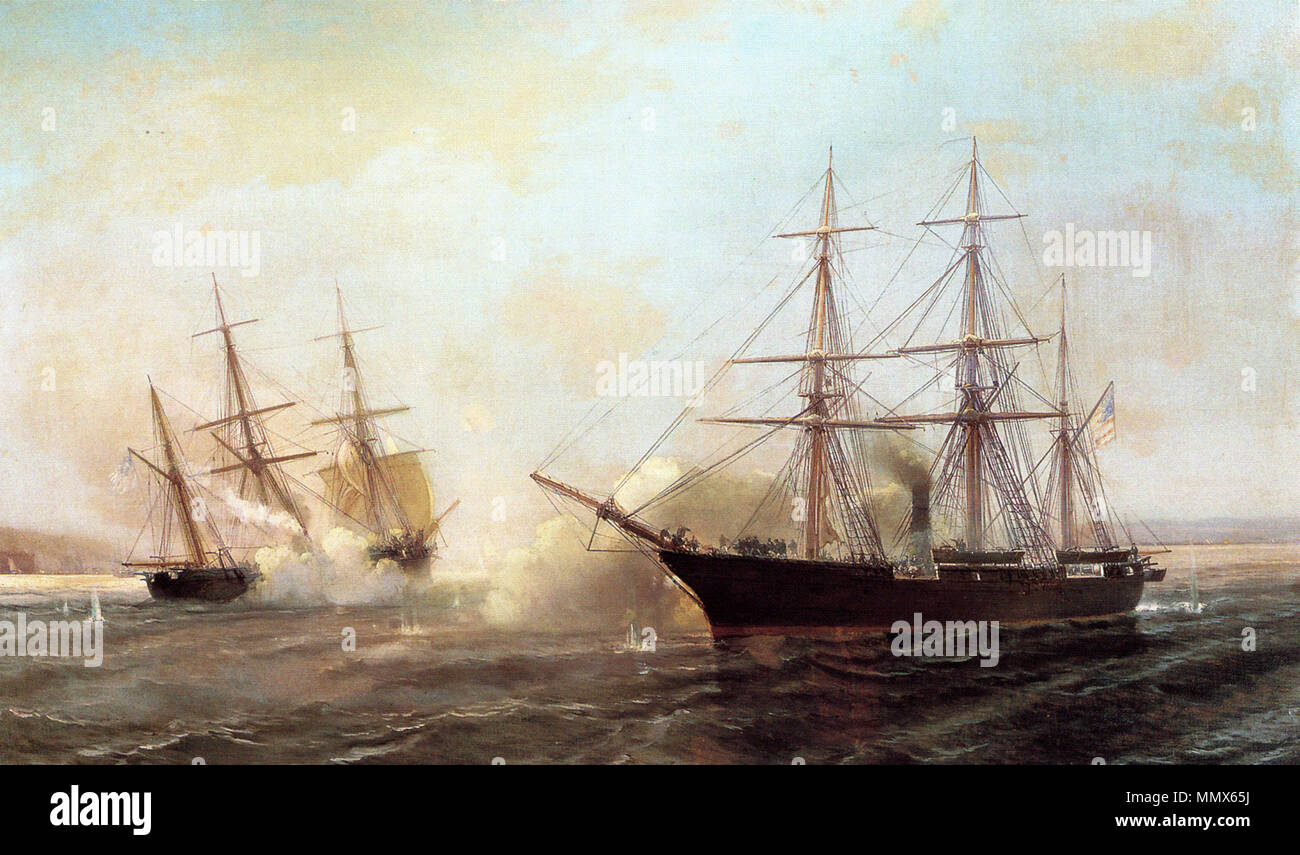.  English: USS Kearsarge (in foreground) sinks sloop of war raider CSS Alabama outside the French port of Cherbourg, 1864. Durand-Brager's depiction, 1864. Durand-Brager- Battle of the USS Kearsarge and the CSS Alabama 1864 - Stock Image