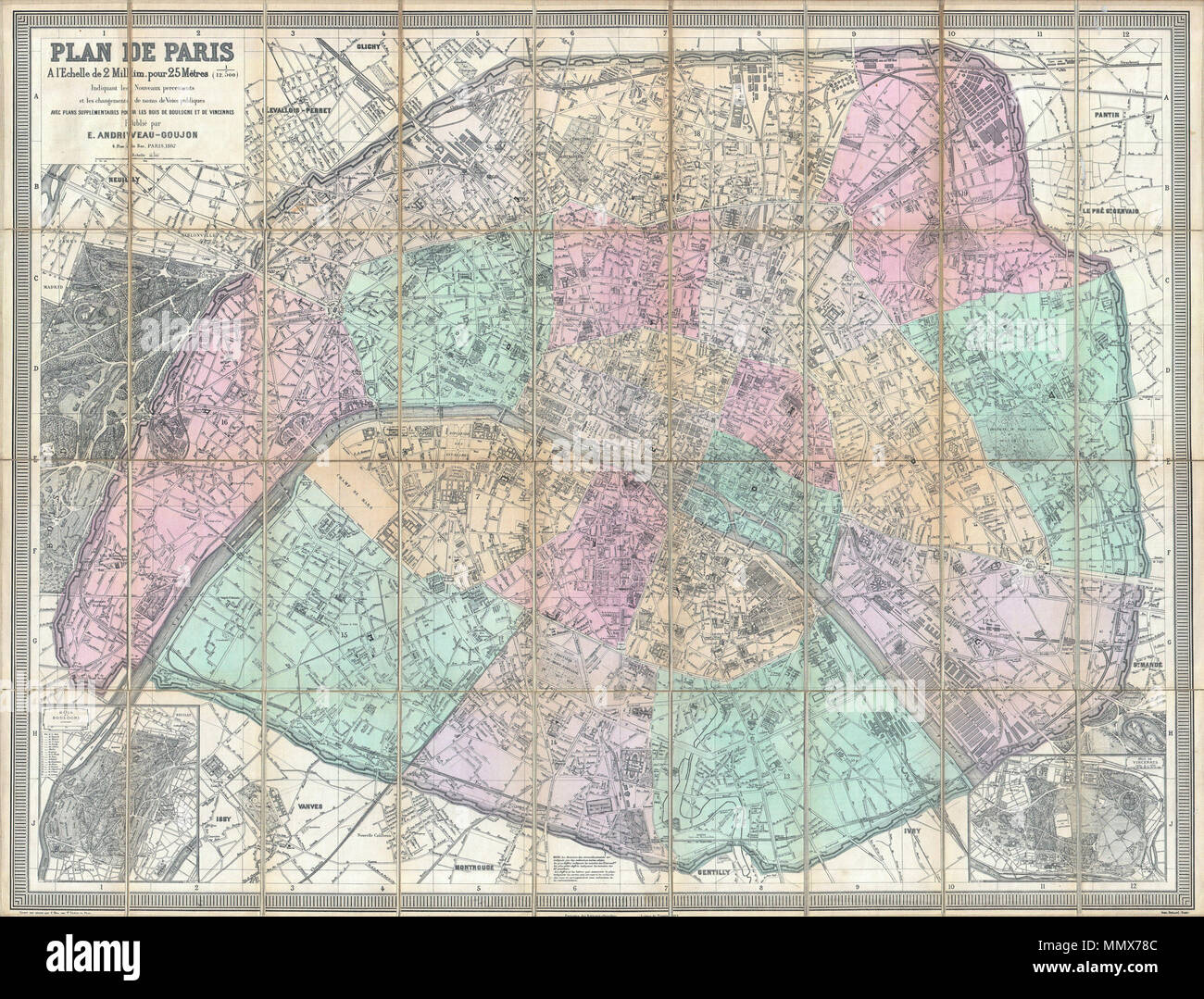 English A Stunningly Executed Large Format Folding Pocket Map - Large map of paris france