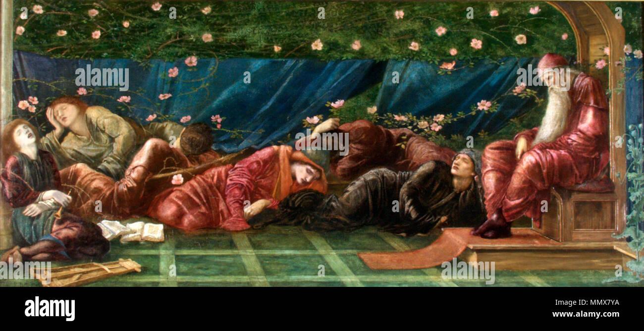 Español: El rey y su corte (serie pequeña El rosal silvestre) . from 1871 until 1872. Edward Burne-Jones - El rey y su corte (serie Little Briar Rose) Stock Photo
