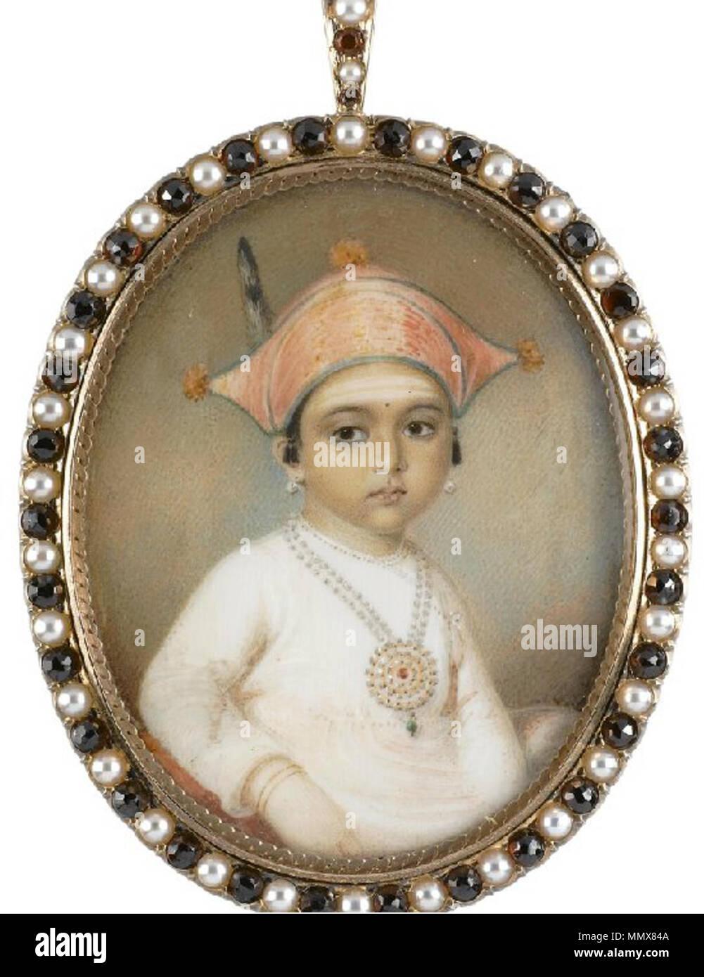 . Portrait of Mooda Maji of Coorg. Watercolor on ivory miniature. 2.9 x 2.2 inches (7.3 x 5.7 cm).  . 1807. Edward Nash Edward Nash - Portrait of Mooda Maji of Coorg Stock Photo