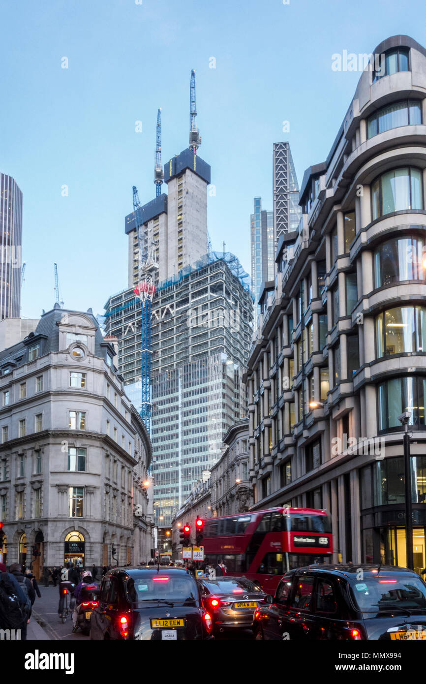 Construction of 22 Bishopsgate skyscraper tower in the City of London, UK viewed from Threadneedle Street - Stock Image