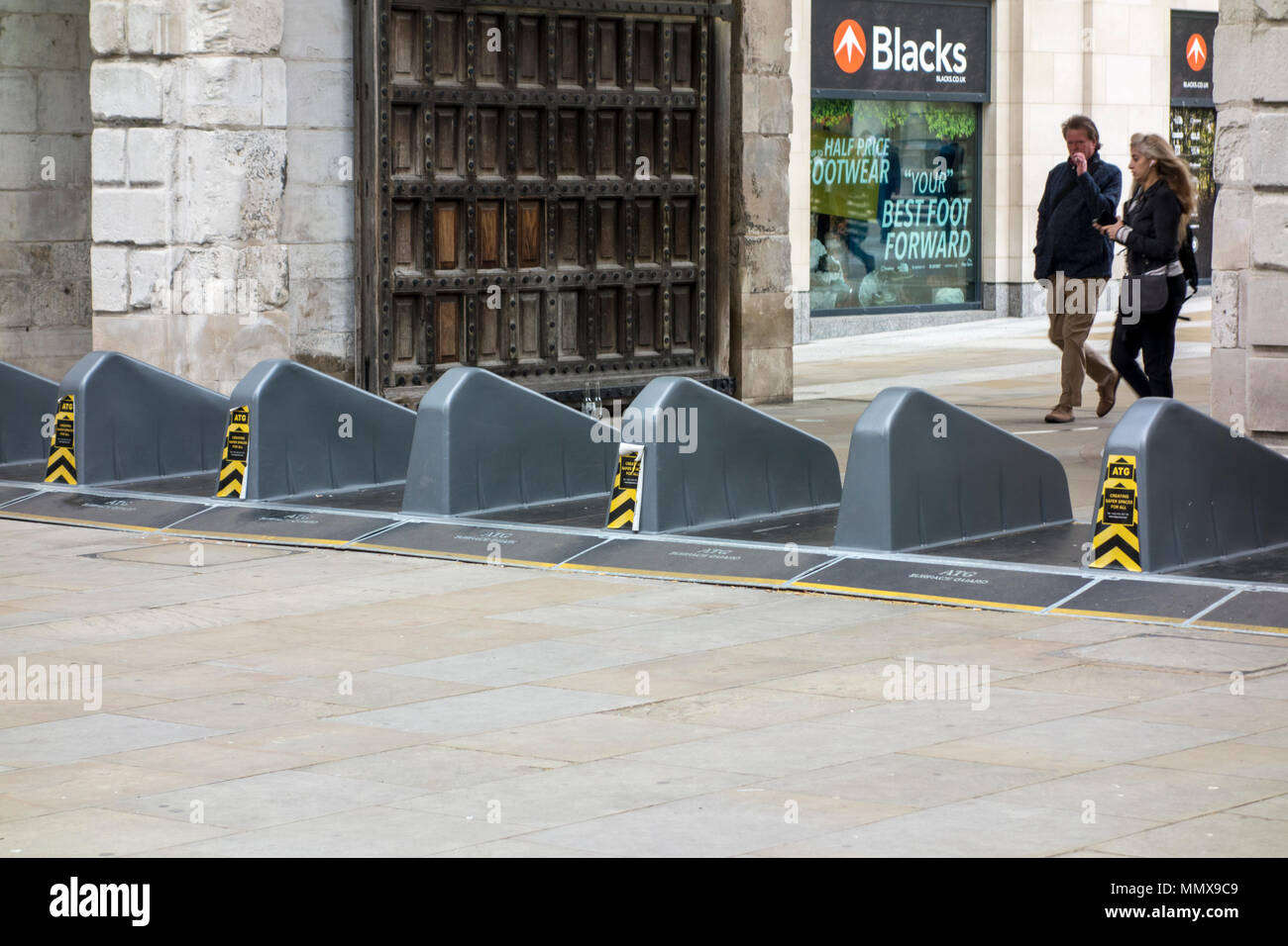 Anti-terrorist security barriers in Paternoster Square, City of London, UK - Stock Image