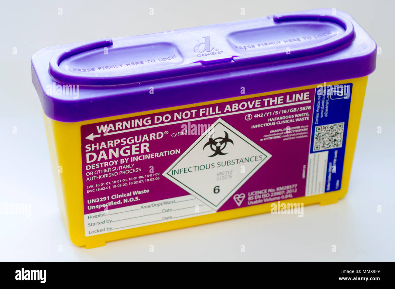Sharps bin or sharps box for disposal of medical needles - Stock Image
