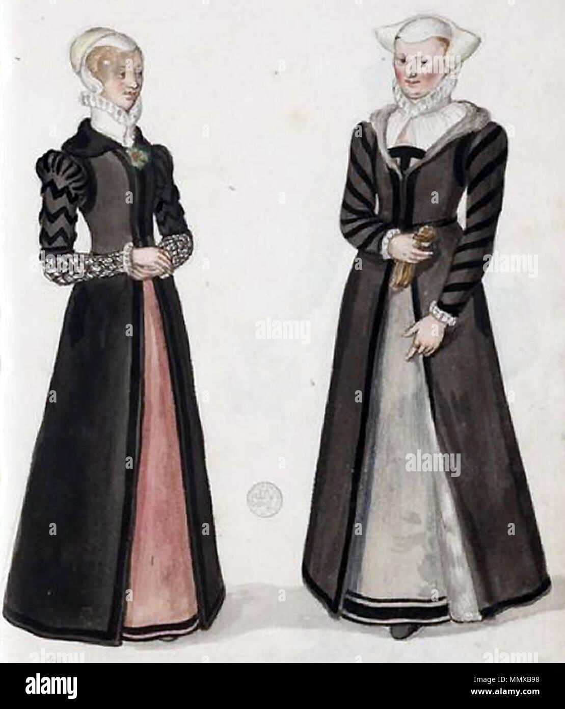 .  English: Costume of English bourgeoise and merchant-class woman.  . circa 1570. English-bourgeoisie-and-merchant - Stock Image
