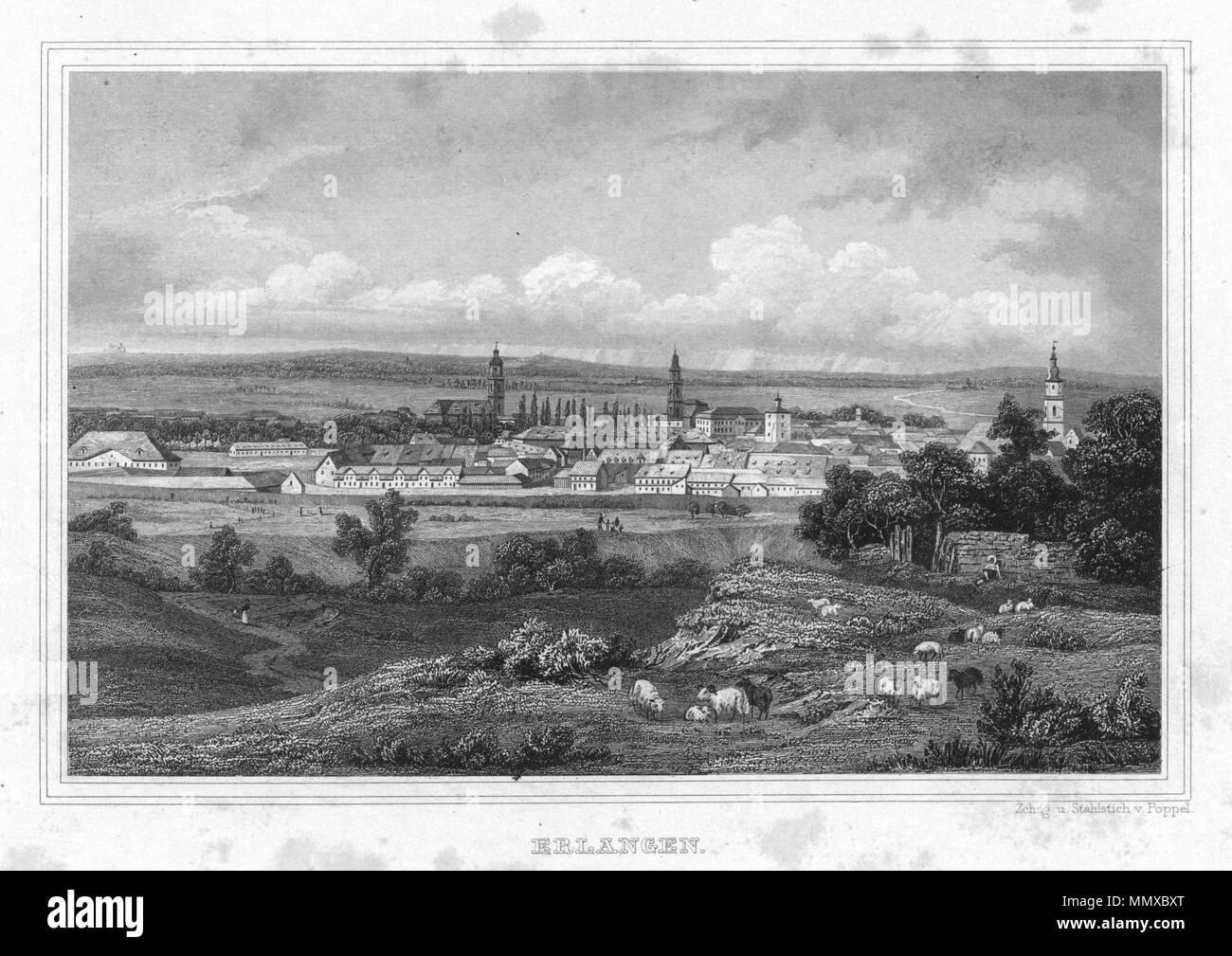 . Deutsch: Erlangen in Album der fränkischen Schweiz. Neun Stahlstiche. 1840.  . 1840. Zchng. u. Stahlstich v. Poppel Erlangen 1840 001 - Stock Image