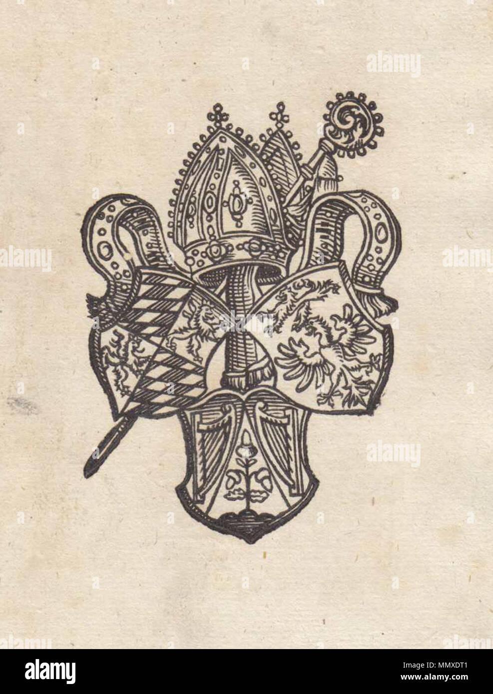 . Ex libris, Benediktinerabtei Andechs (Warnecke 1890, S. 24, Nr. 42)  . by 1800. Unknown Ex-libris Andechs 02 - Stock Image