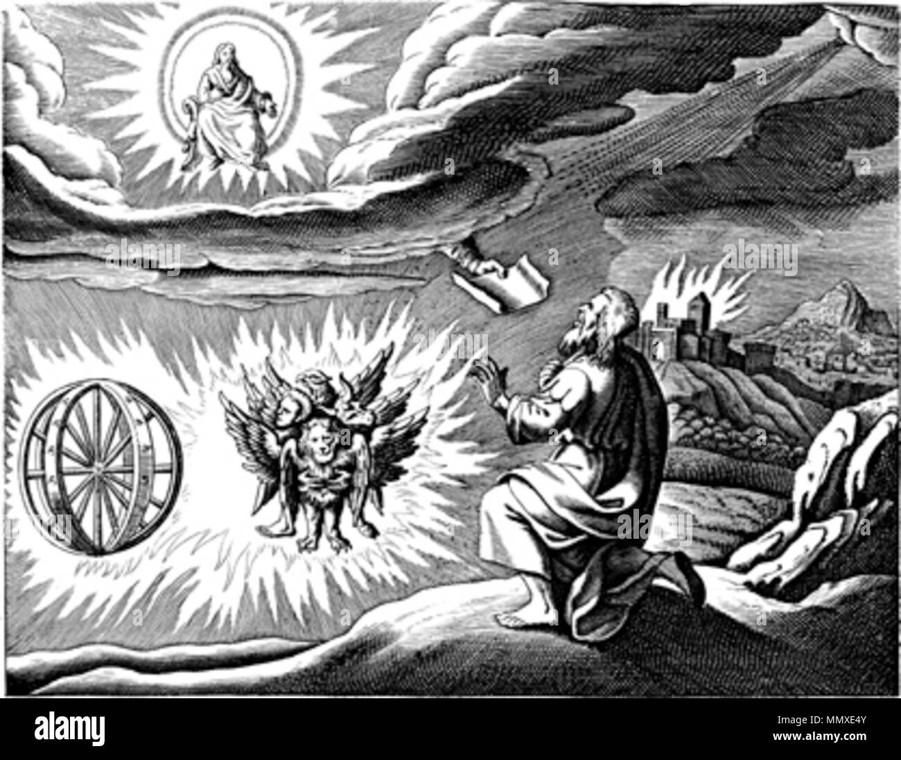 . Engraved illustration of the 'chariot vision' of the Biblical book of Ezekiel, chapter 1, after an earlier illustration by Matthaeus (Matthäus) Merian (1593-1650), for his 'Icones Biblicae' (a.k.a. 'Iconum Biblicarum').  . 1670. copy by unknown artist after illustration by Matthaeus (Matthäus) Merian the elder (1593-1650) Ezekiel's vision Stock Photo