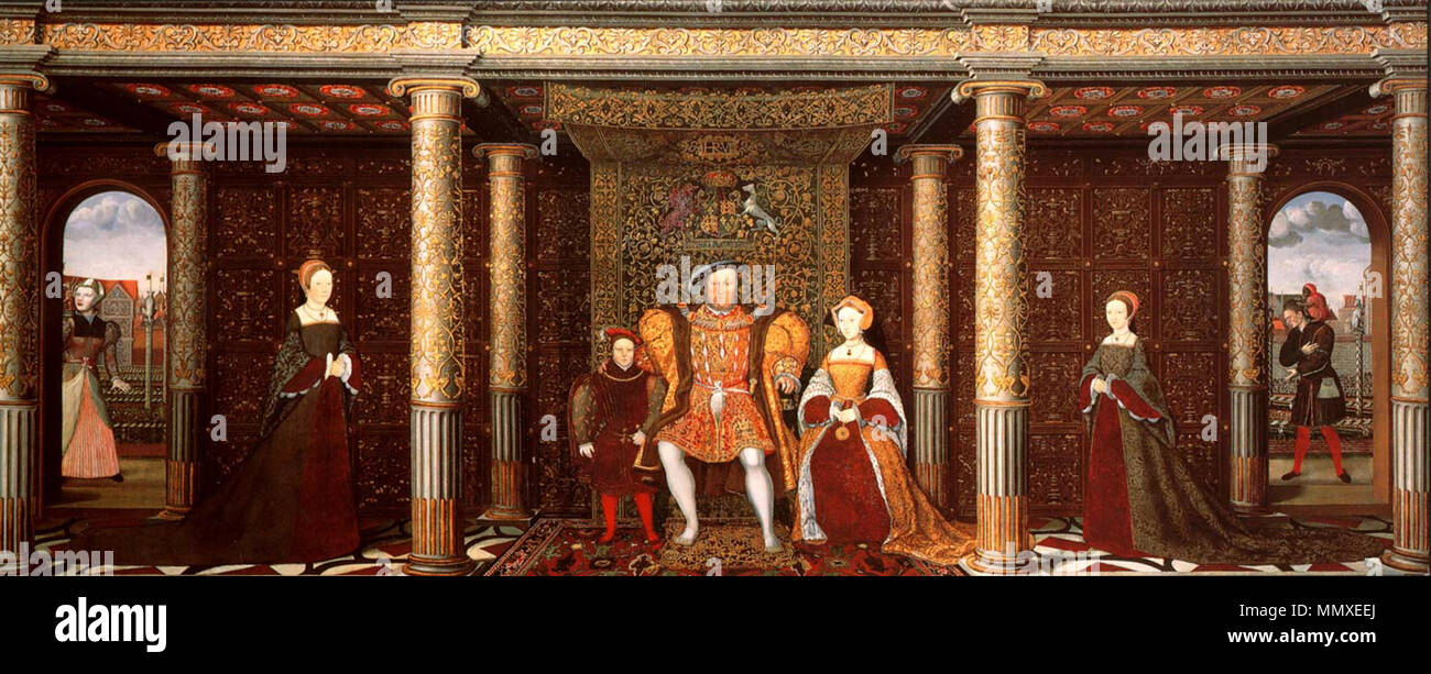 . Left to Right: 'Mother Jak', Lady Mary, Prince Edward, Henry VIII, Jane Seymour(posthumous), Lady Elizabeth and Will Somers  The Family of Henry VIII. circa 1545. Unknown Family of Henry VIII c 1545 - Stock Image
