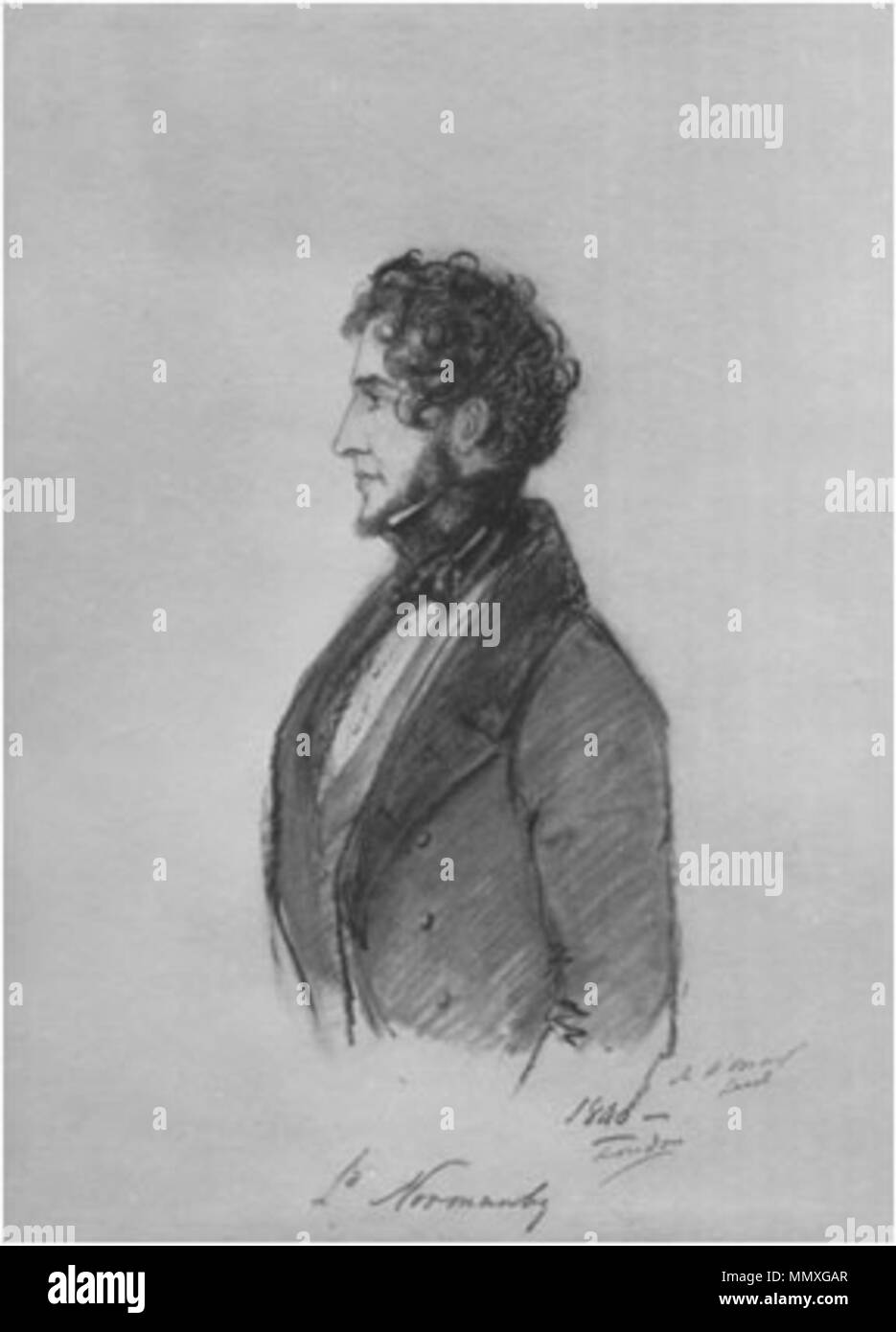 . Constantine Phipps, 1st Marquess of Normanby (1797-1863)  . 1840.   Alfred d'Orsay  (1801–1852)     Description French illustrator, painter, sculptor and soldier  Date of birth/death 4 September 1801 4 August 1852  Location of birth/death Paris Chambourcy  Work period 1829-1852  Work location London  Authority control  : Q2622452 VIAF:?5713031 ISNI:?0000 0000 8353 3056 ULAN:?500007024 LCCN:?n97013875 GND:?117606200 WorldCat 1stMarquessOfNormanby - Stock Image