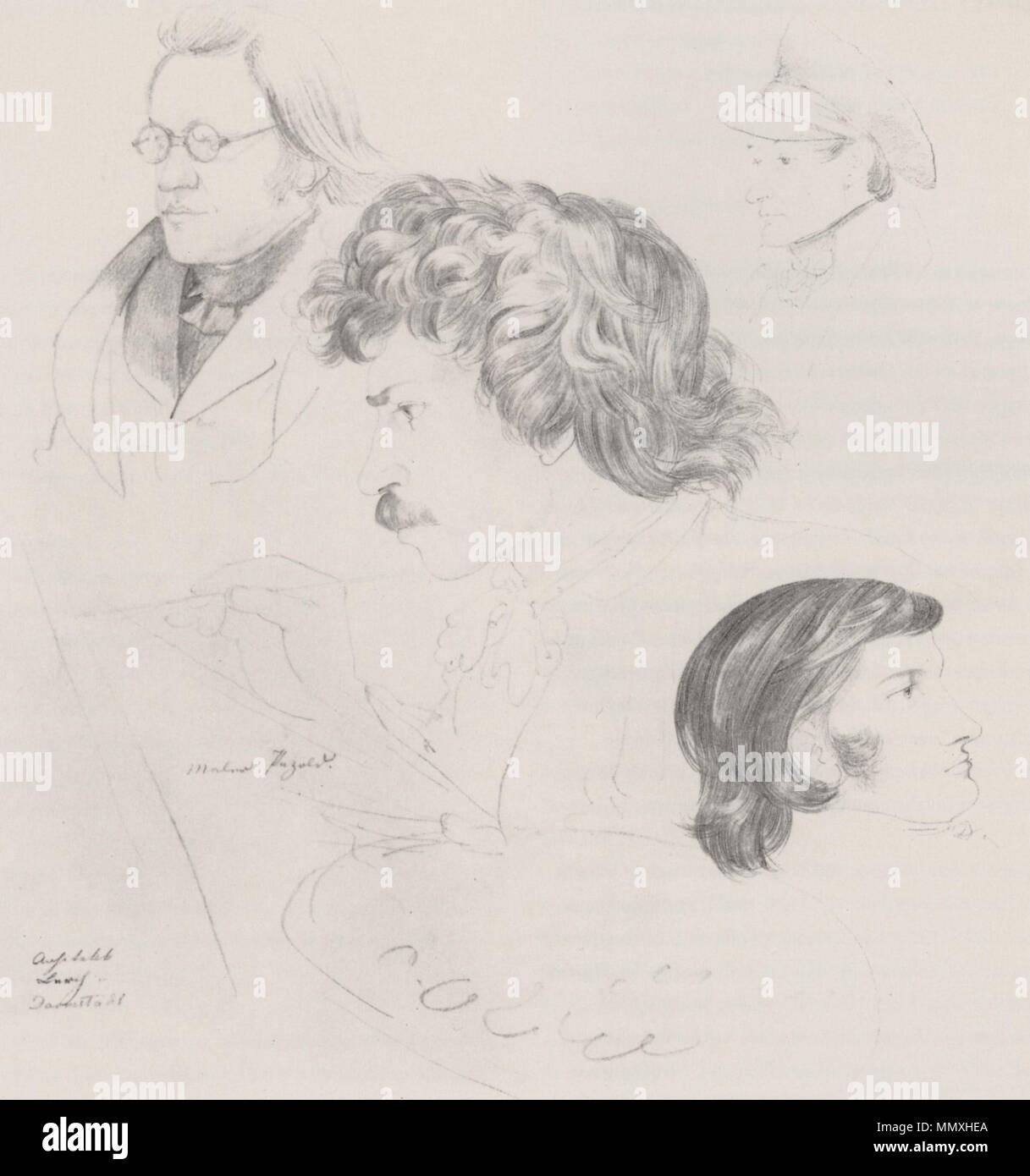 Fohr, Carl Philipp- Porträts von Ernst Gotthilf Bosse (Links), August Georg Wilhelm Pezold (Mitte), Johann Lebrecht Eggink (Rechts Oben) und Ernst Benjamin Salomo Raupach (Rechts Unten) - Stock Image