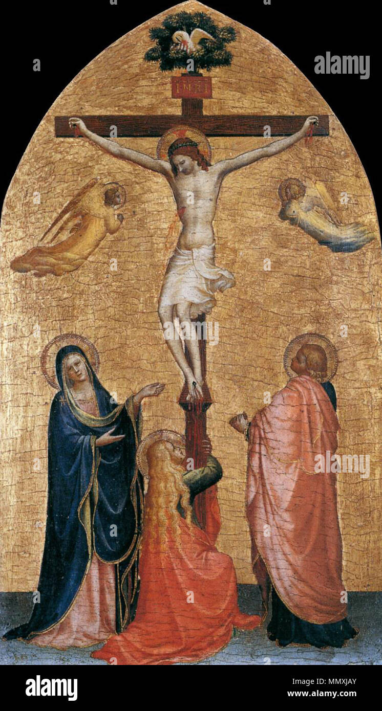 Crucifixion with the Virgin, John the Evangelist, and Mary Magdelene. between 1419 and 1420. Fra Angelico - Crucifixion with the Virgin, John the Evangelist, and Mary Magdelene - WGA00641 - Stock Image