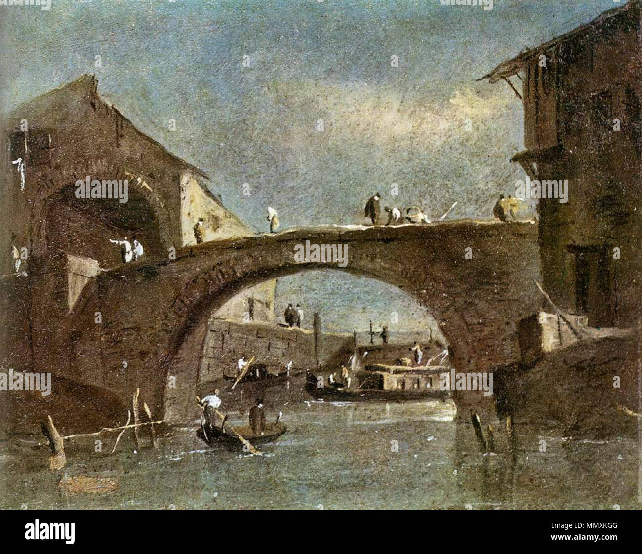 Bridge at Dolo. second half of 18th century. Francesco Guardi - Bridge at Dolo - WGA10838 Stock Photo
