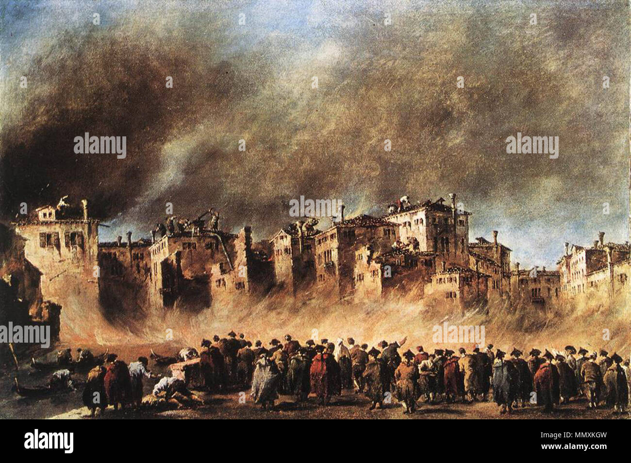 Fire in the Oil Depot at San Marcuola. 1789. Francesco Guardi - Fire in the Oil Depot at San Marcuola - WGA10884 Stock Photo