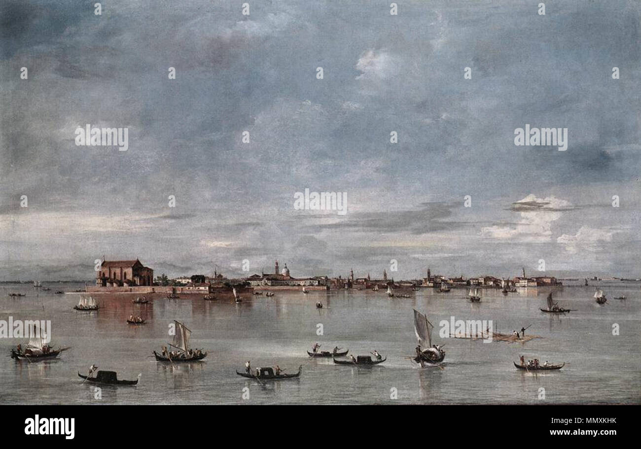 San Cristoforo, San Michele and Murano, Seen from the Fondamenta Nuove. between 1755 and 1760. Francesco Guardi - San Cristoforo, San Michele and Murano, Seen from the Fondamenta Nuove - WGA10832 Stock Photo