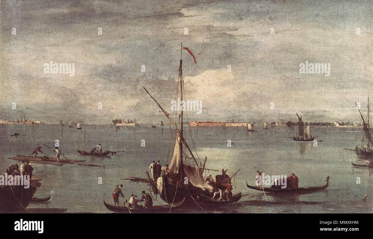 The Lagoon with Boats, Gondolas, and Rafts. circa 1758. Francesco Guardi - The Lagoon with Boats, Gondolas, and Rafts - WGA10835 Stock Photo