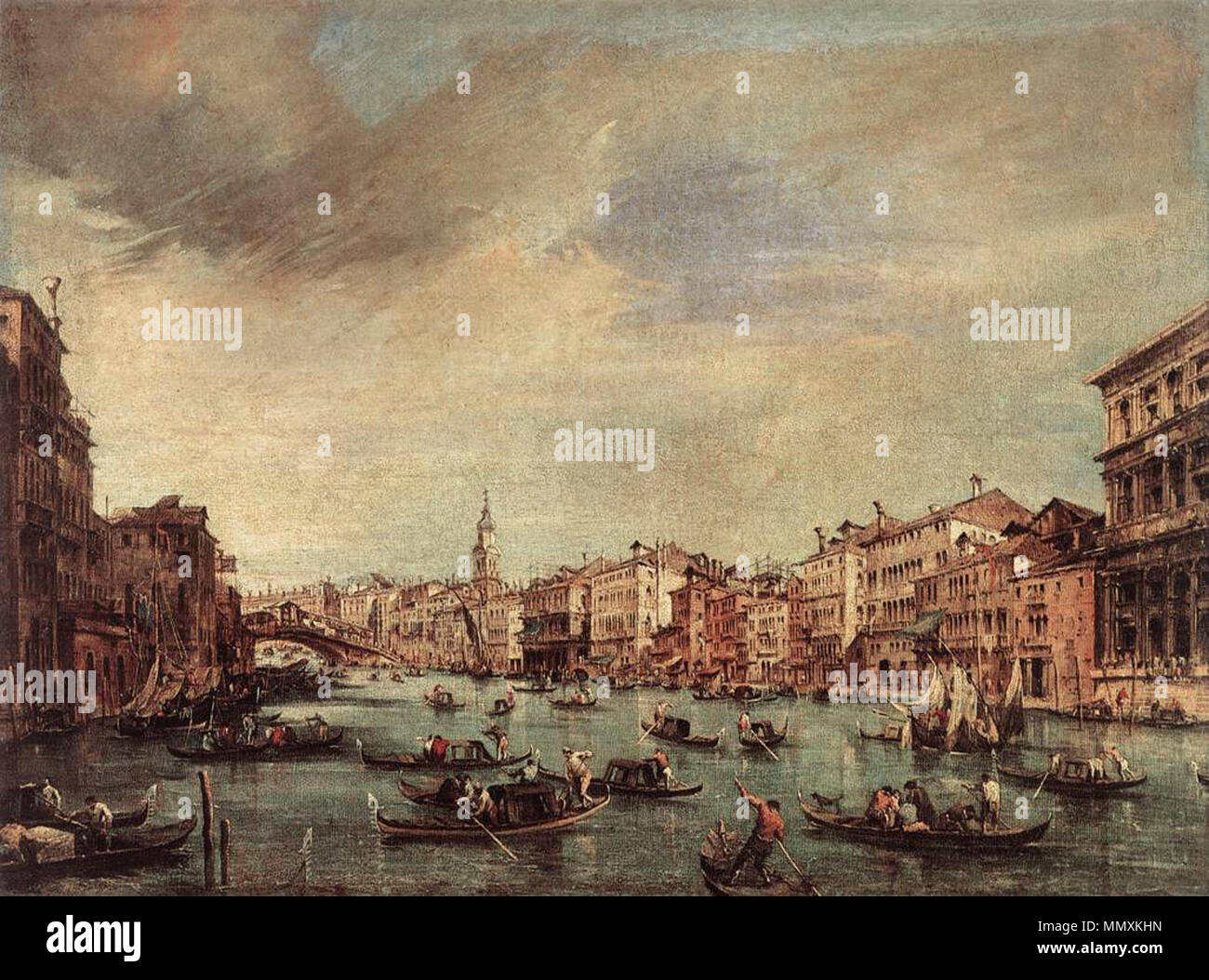The Grand Canal, Looking toward the Rialto Bridge. circa 1765. Francesco Guardi - The Grand Canal, Looking toward the Rialto Bridge - WGA10843 Stock Photo