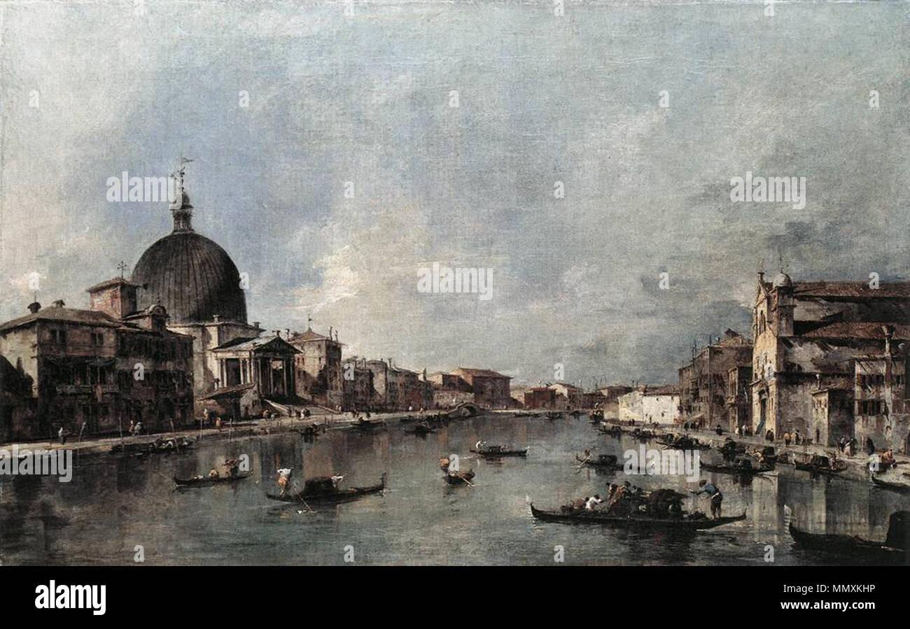 The Grand Canal with San Simeone Piccolo and Santa Lucia. 1780s. Francesco Guardi - The Grand Canal with San Simeone Piccolo and Santa Lucia - WGA10882 Stock Photo