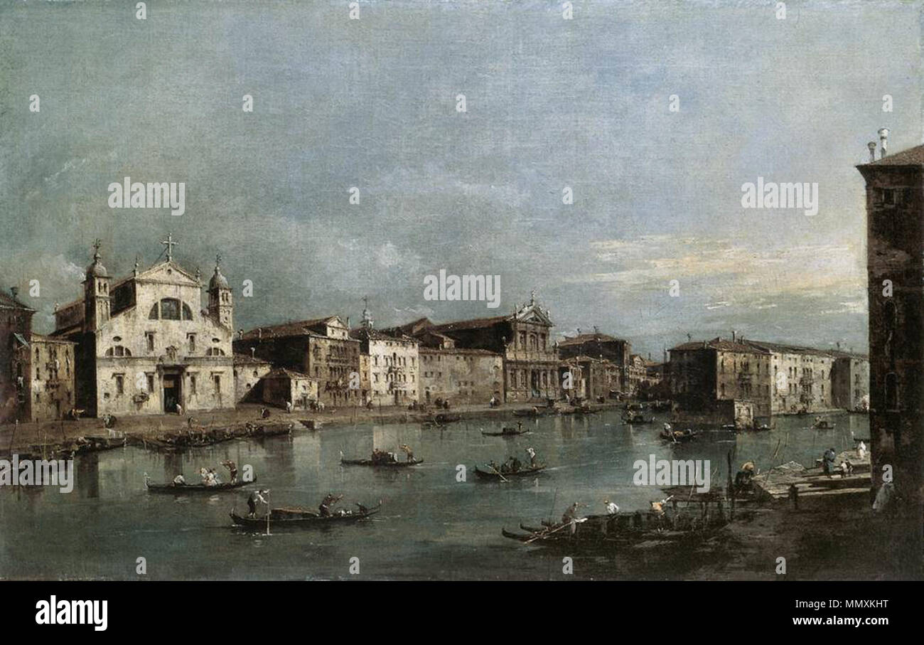 The Grand Canal with Santa Lucia and the Scalzi. 1780s. Francesco Guardi - The Grand Canal with Santa Lucia and the Scalzi - WGA10881 Stock Photo