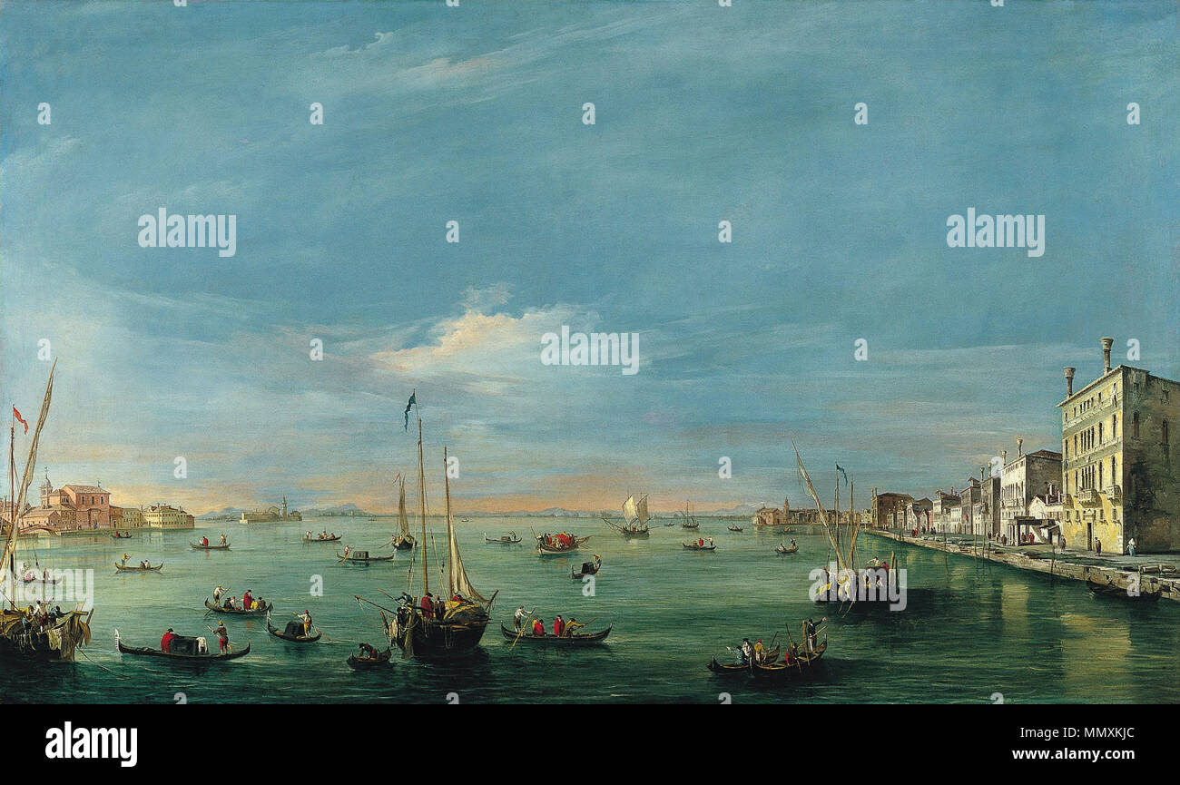 View of the Giudecca Canal and the Zattere. between circa 1757 and circa 1758. Francesco Guardi - View of the Giudecca Canal and the Zattere - Google Art Project Stock Photo