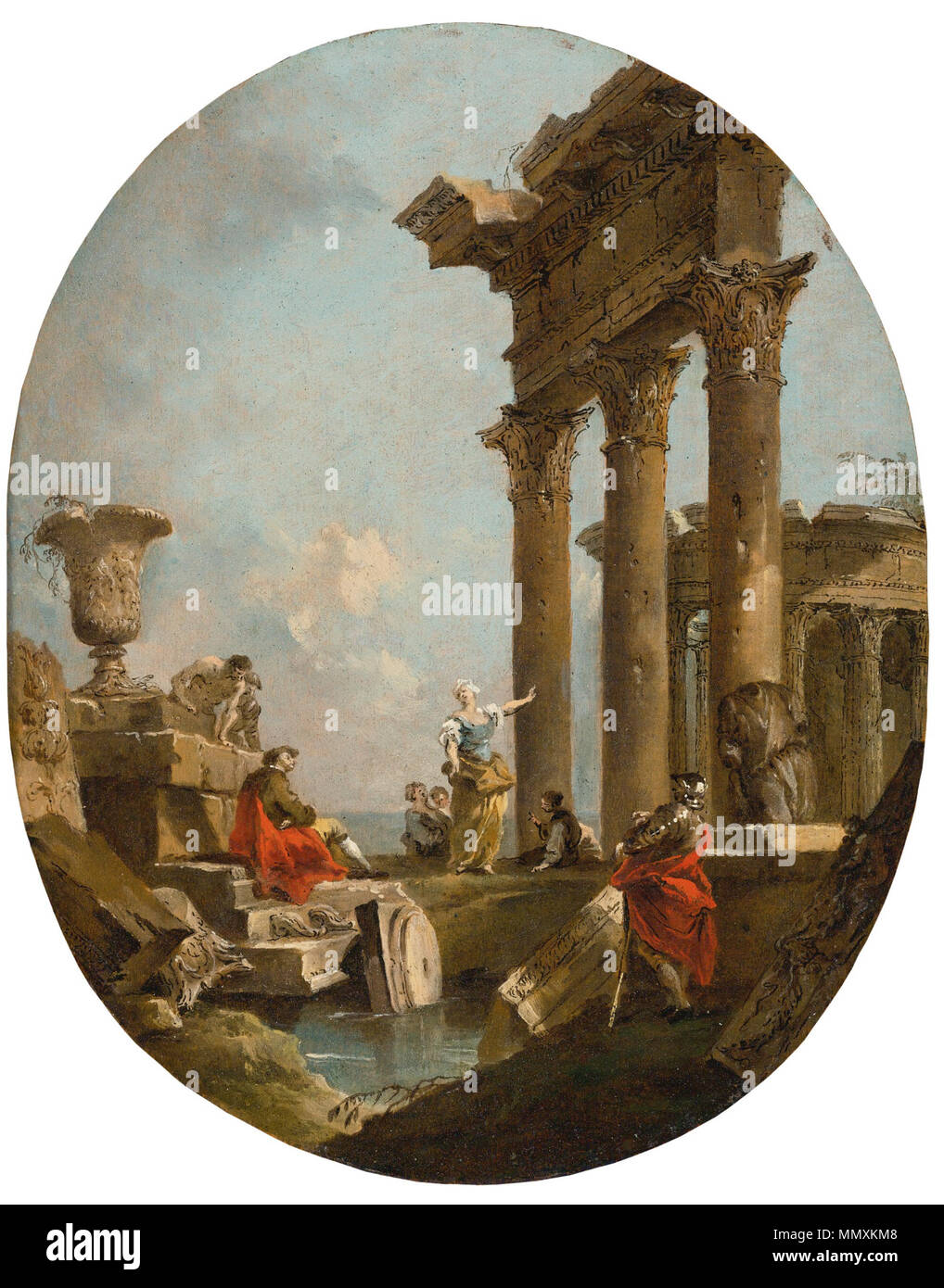 Francesco Lazzaro Guardi (1712 –1793) Figures amongst ruins Stock Photo