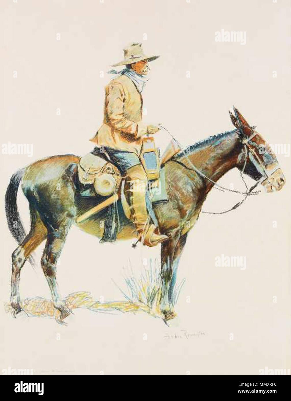 .  Deutsch: The Trapper. Chromolithografie, 50,8 x 38 cm. Gedruckt von Robert Howard Russell.  . by 1909. Frederic Sackrider Remington The Trapper chromolithograph - Stock Image