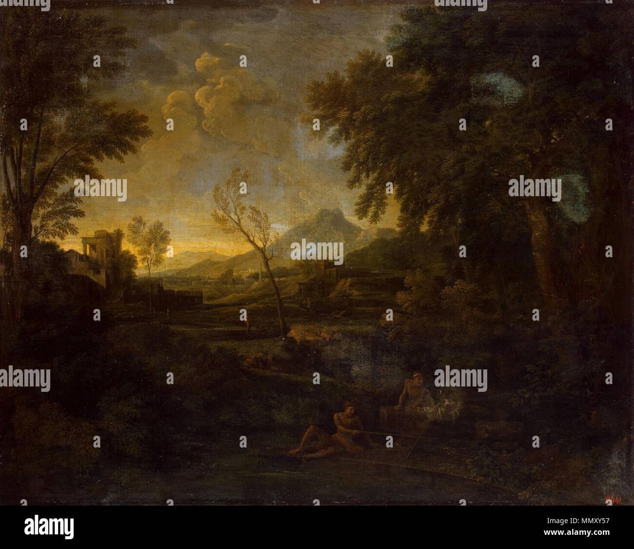 English: Landscape with an Angler, oil, Height: 101 cm (39.7 in ...