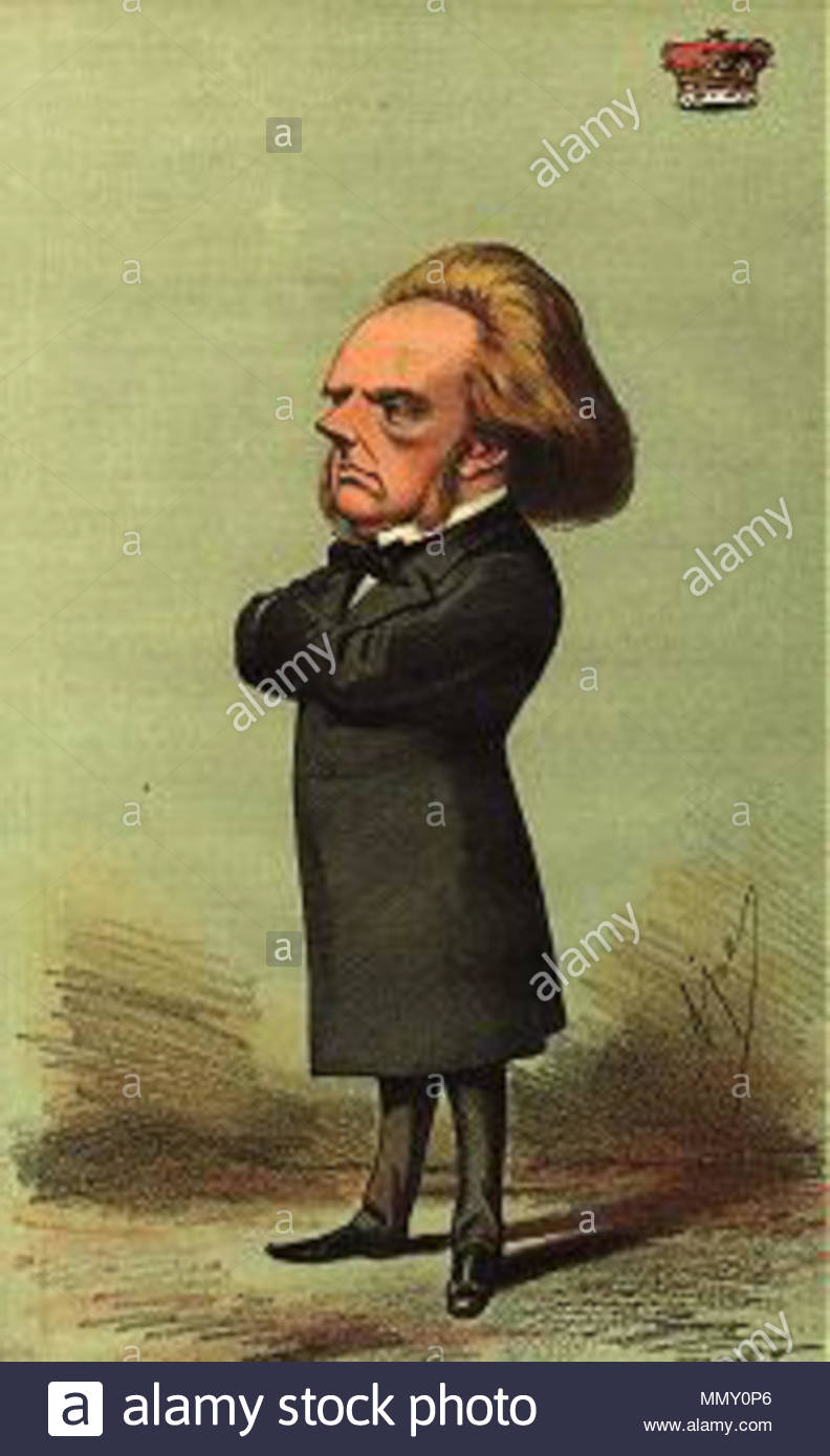 . English: Caricature of George John Douglas Campbell, 8th and 1st Duke of Argyll (30 April 1823 – 24 April 1900). Caption read 'God bless the Duke of Argyll'. He was a prominent United Kingdom Liberal politician as well as a writer on science, religion, and the politics of the 19th century.  . 17 April 1869.   Carlo Pellegrini  (1839–1889)     Alternative names Singe, Ape  Description Italian artist and caricaturist  Date of birth/death 25 March 1839 22 January 1889  Location of birth/death Capua London  Work location London  Authority control  : Q935877 VIAF:?91408204 ISNI:?0000 0001 1684 95 - Stock Image