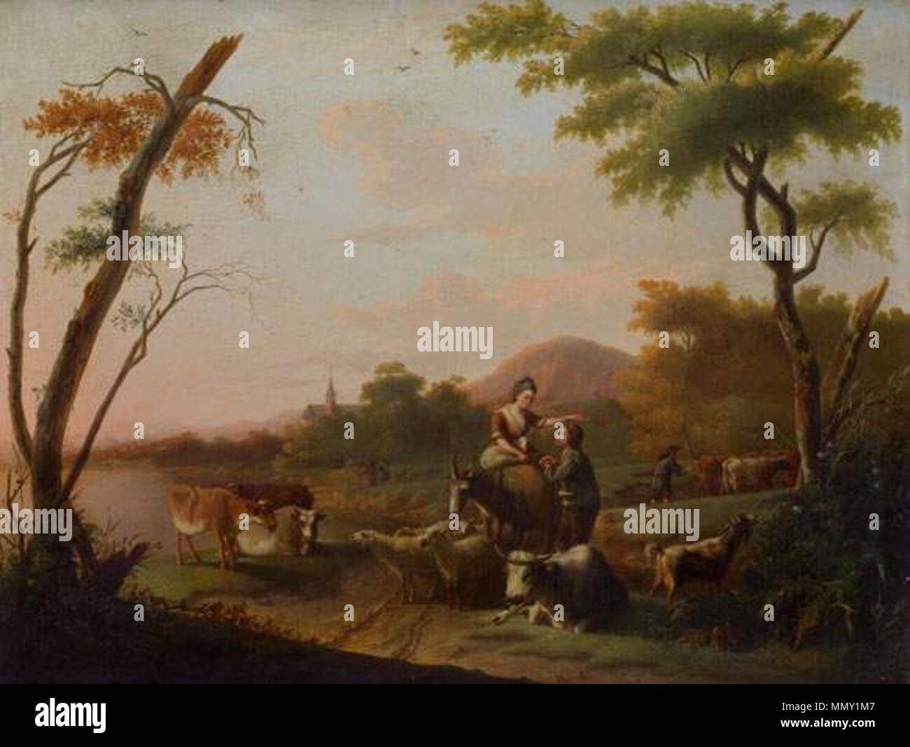 Gerard van Dinter - Villageoise parmi ses animaux conversant avec un pâtre Stock Photo