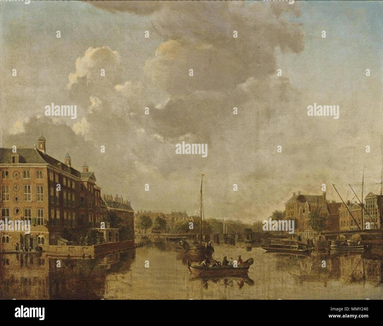 A view of the Binnen Amstel towards the Blauwbrug with the deacon orphanage to the left. Gerrit Toorenburgh, A view of the Binnen Amstel towards the blauwbrug with the deacon orphanage to the left Stock Photo
