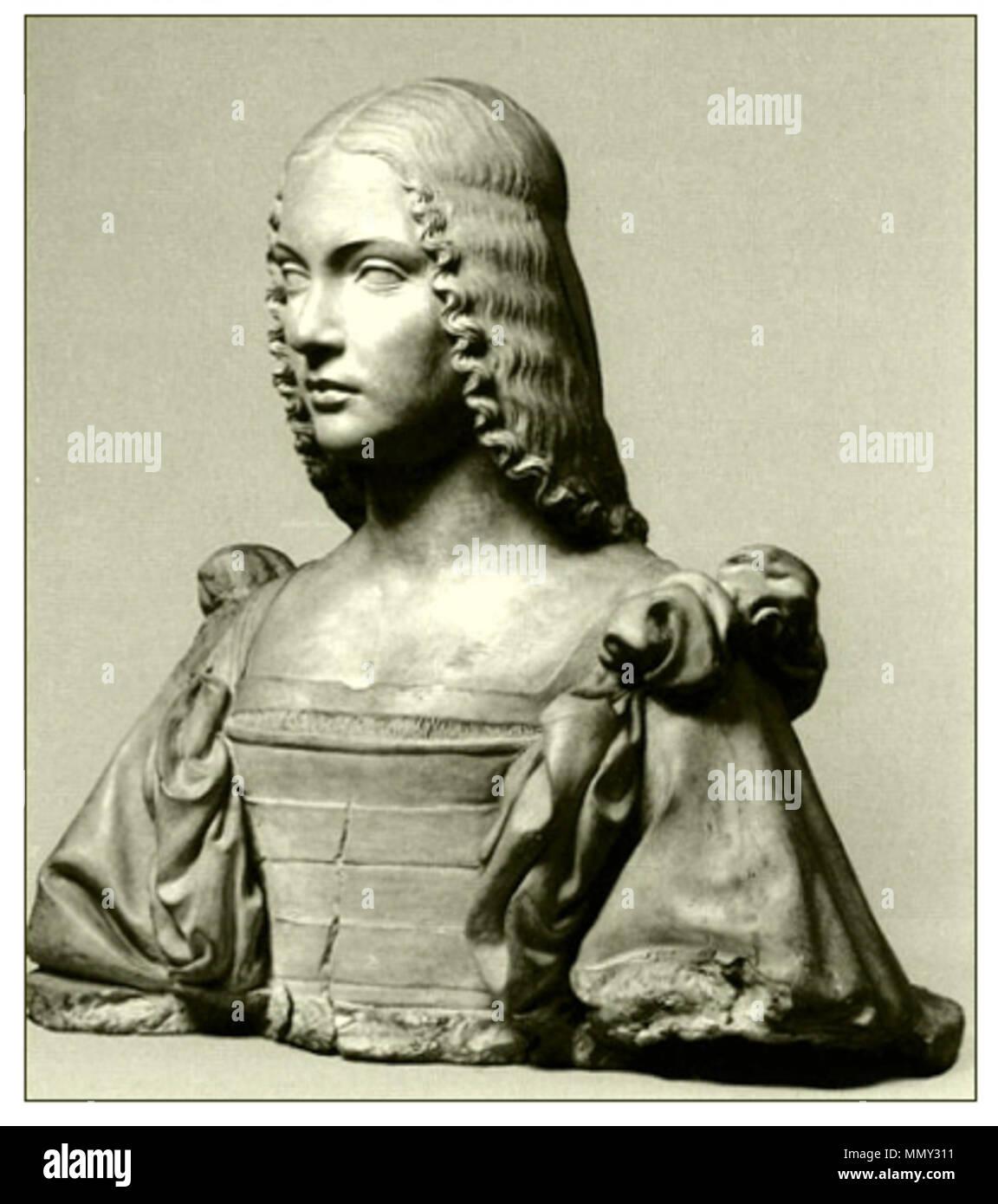 . Bust of a woman (presumed portrait of Isabella d'Este 1474-1539)  . circa 1500. Gian Cristoforo Romano 003 - Stock Image