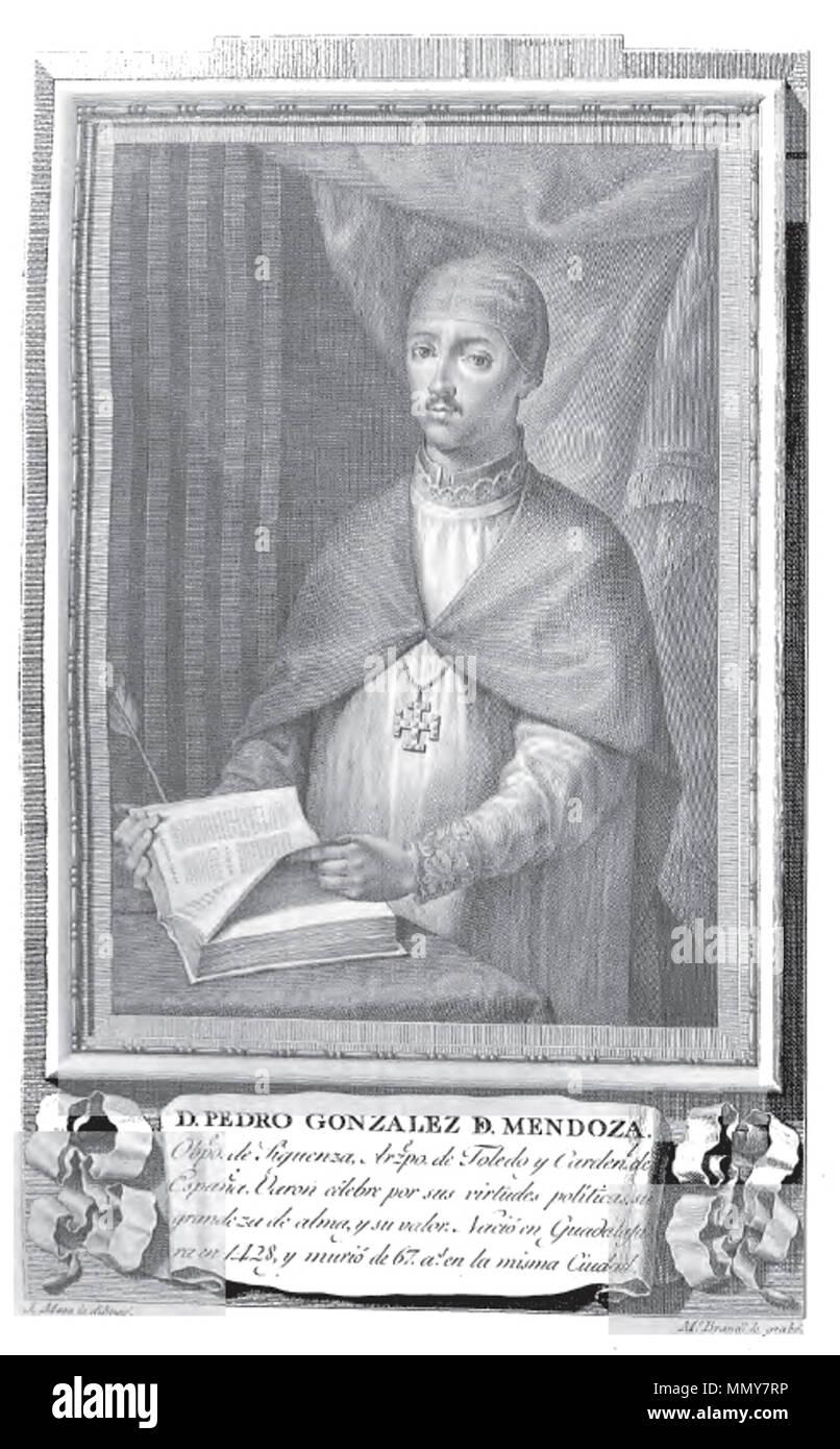 . Retrato de Pedro González de Mendoza.  . 1791. Mariano Brandi (grabado), José Maea (dibujo) Pedro Gonzalez de Mendoza - Stock Image