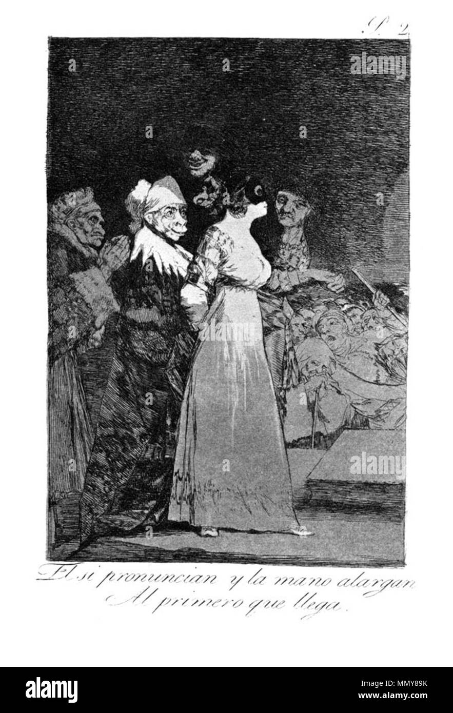 . Los Caprichos is a set of 80 aquatint prints created by Francisco Goya for release in 1799.  . 1799.   Francisco Goya (1746–1828)   Alternative names Francisco Goya Lucientes, Francisco de Goya y Lucientes, Francisco José Goya Lucientes  Description Spanish painter, printmaker, lithographer, engraver and etcher  Date of birth/death 30 March 1746 16 April 1828  Location of birth/death Fuendetodos Bordeaux  Work location Madrid, Zaragoza, Bordeaux  Authority control  : Q5432 VIAF:?54343141 ISNI:?0000 0001 2280 1608 ULAN:?500118936 LCCN:?n79003363 NLA:?36545788 WorldCat Goya - Caprichos (02 - Stock Image
