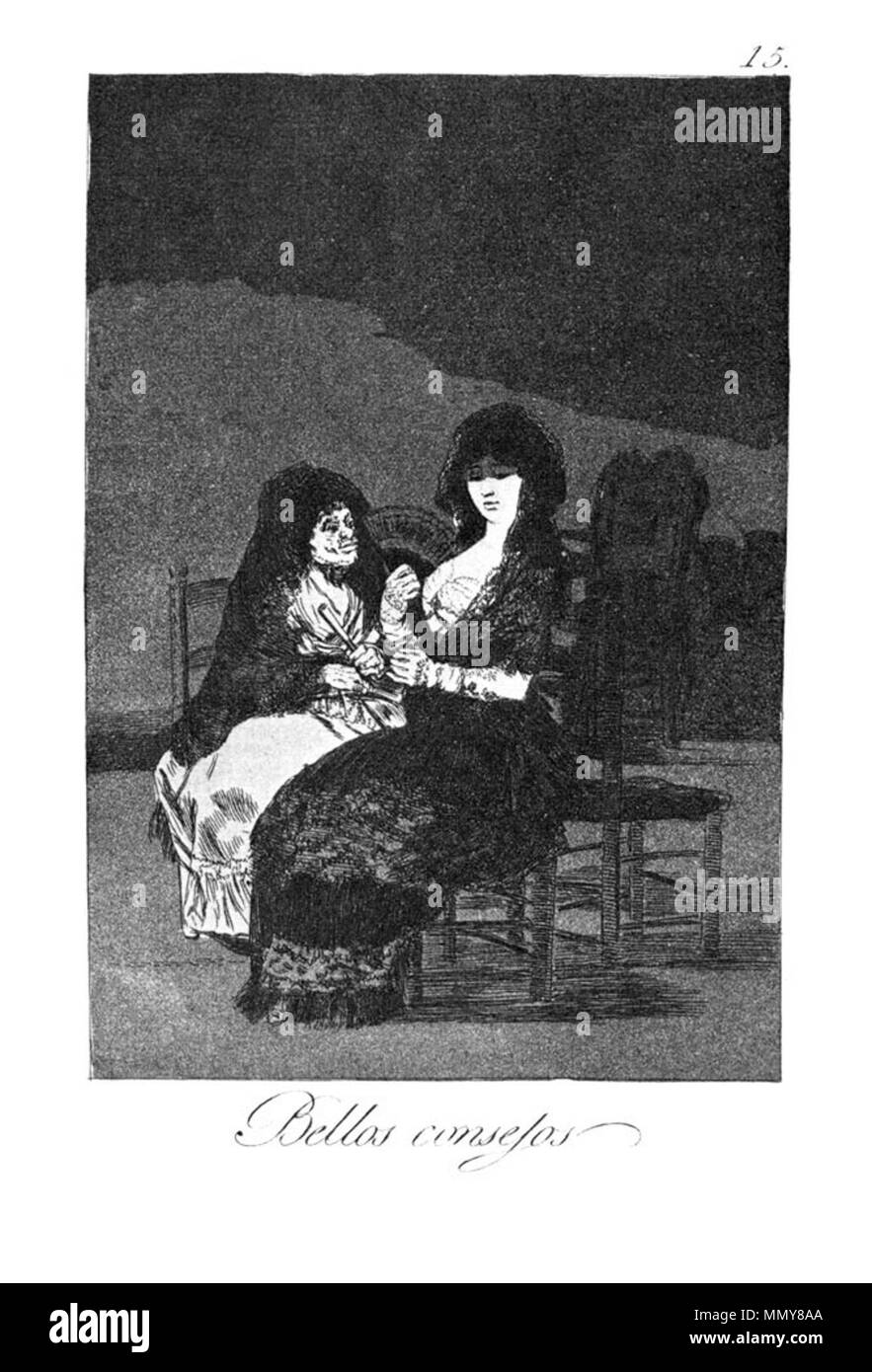 . Los Caprichos is a set of 80 aquatint prints created by Francisco Goya for release in 1799.  . 1799.   Francisco Goya (1746–1828)   Alternative names Francisco Goya Lucientes, Francisco de Goya y Lucientes, Francisco José Goya Lucientes  Description Spanish painter, printmaker, lithographer, engraver and etcher  Date of birth/death 30 March 1746 16 April 1828  Location of birth/death Fuendetodos Bordeaux  Work location Madrid, Zaragoza, Bordeaux  Authority control  : Q5432 VIAF:?54343141 ISNI:?0000 0001 2280 1608 ULAN:?500118936 LCCN:?n79003363 NLA:?36545788 WorldCat Goya - Caprichos (15 - Stock Image