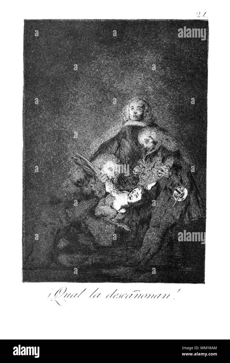 . Los Caprichos is a set of 80 aquatint prints created by Francisco Goya for release in 1799.  . 1799.   Francisco Goya (1746–1828)   Alternative names Francisco Goya Lucientes, Francisco de Goya y Lucientes, Francisco José Goya Lucientes  Description Spanish painter, printmaker, lithographer, engraver and etcher  Date of birth/death 30 March 1746 16 April 1828  Location of birth/death Fuendetodos Bordeaux  Work location Madrid, Zaragoza, Bordeaux  Authority control  : Q5432 VIAF:?54343141 ISNI:?0000 0001 2280 1608 ULAN:?500118936 LCCN:?n79003363 NLA:?36545788 WorldCat Goya - Caprichos (21 - Stock Image
