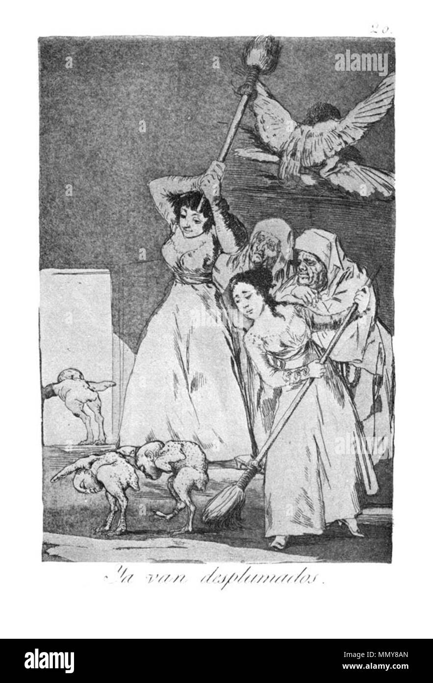 . Los Caprichos is a set of 80 aquatint prints created by Francisco Goya for release in 1799.  . 1799.   Francisco Goya (1746–1828)   Alternative names Francisco Goya Lucientes, Francisco de Goya y Lucientes, Francisco José Goya Lucientes  Description Spanish painter, printmaker, lithographer, engraver and etcher  Date of birth/death 30 March 1746 16 April 1828  Location of birth/death Fuendetodos Bordeaux  Work location Madrid, Zaragoza, Bordeaux  Authority control  : Q5432 VIAF:?54343141 ISNI:?0000 0001 2280 1608 ULAN:?500118936 LCCN:?n79003363 NLA:?36545788 WorldCat Goya - Caprichos (20 - Stock Image