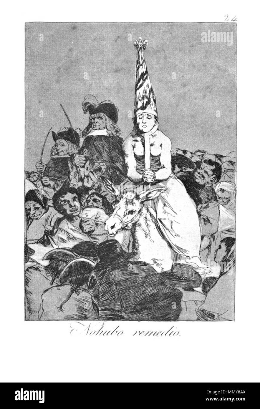 . Los Caprichos is a set of 80 aquatint prints created by Francisco Goya for release in 1799.  . 1799.   Francisco Goya (1746–1828)   Alternative names Francisco Goya Lucientes, Francisco de Goya y Lucientes, Francisco José Goya Lucientes  Description Spanish painter, printmaker, lithographer, engraver and etcher  Date of birth/death 30 March 1746 16 April 1828  Location of birth/death Fuendetodos Bordeaux  Work location Madrid, Zaragoza, Bordeaux  Authority control  : Q5432 VIAF:?54343141 ISNI:?0000 0001 2280 1608 ULAN:?500118936 LCCN:?n79003363 NLA:?36545788 WorldCat Goya - Caprichos (24 - Stock Image