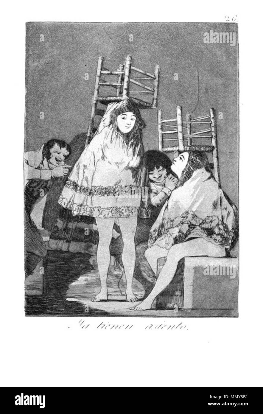 . Los Caprichos is a set of 80 aquatint prints created by Francisco Goya for release in 1799.  . 1799.   Francisco Goya (1746–1828)   Alternative names Francisco Goya Lucientes, Francisco de Goya y Lucientes, Francisco José Goya Lucientes  Description Spanish painter, printmaker, lithographer, engraver and etcher  Date of birth/death 30 March 1746 16 April 1828  Location of birth/death Fuendetodos Bordeaux  Work location Madrid, Zaragoza, Bordeaux  Authority control  : Q5432 VIAF:?54343141 ISNI:?0000 0001 2280 1608 ULAN:?500118936 LCCN:?n79003363 NLA:?36545788 WorldCat Goya - Caprichos (26 - Stock Image