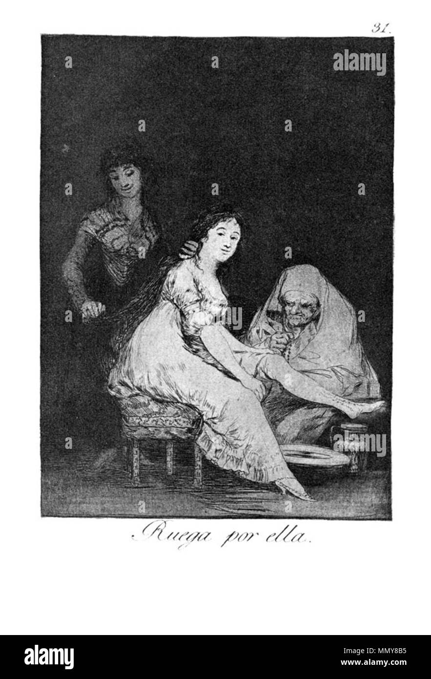 . Los Caprichos is a set of 80 aquatint prints created by Francisco Goya for release in 1799.  . 1799.   Francisco Goya (1746–1828)   Alternative names Francisco Goya Lucientes, Francisco de Goya y Lucientes, Francisco José Goya Lucientes  Description Spanish painter, printmaker, lithographer, engraver and etcher  Date of birth/death 30 March 1746 16 April 1828  Location of birth/death Fuendetodos Bordeaux  Work location Madrid, Zaragoza, Bordeaux  Authority control  : Q5432 VIAF:?54343141 ISNI:?0000 0001 2280 1608 ULAN:?500118936 LCCN:?n79003363 NLA:?36545788 WorldCat Goya - Caprichos (31 - Stock Image