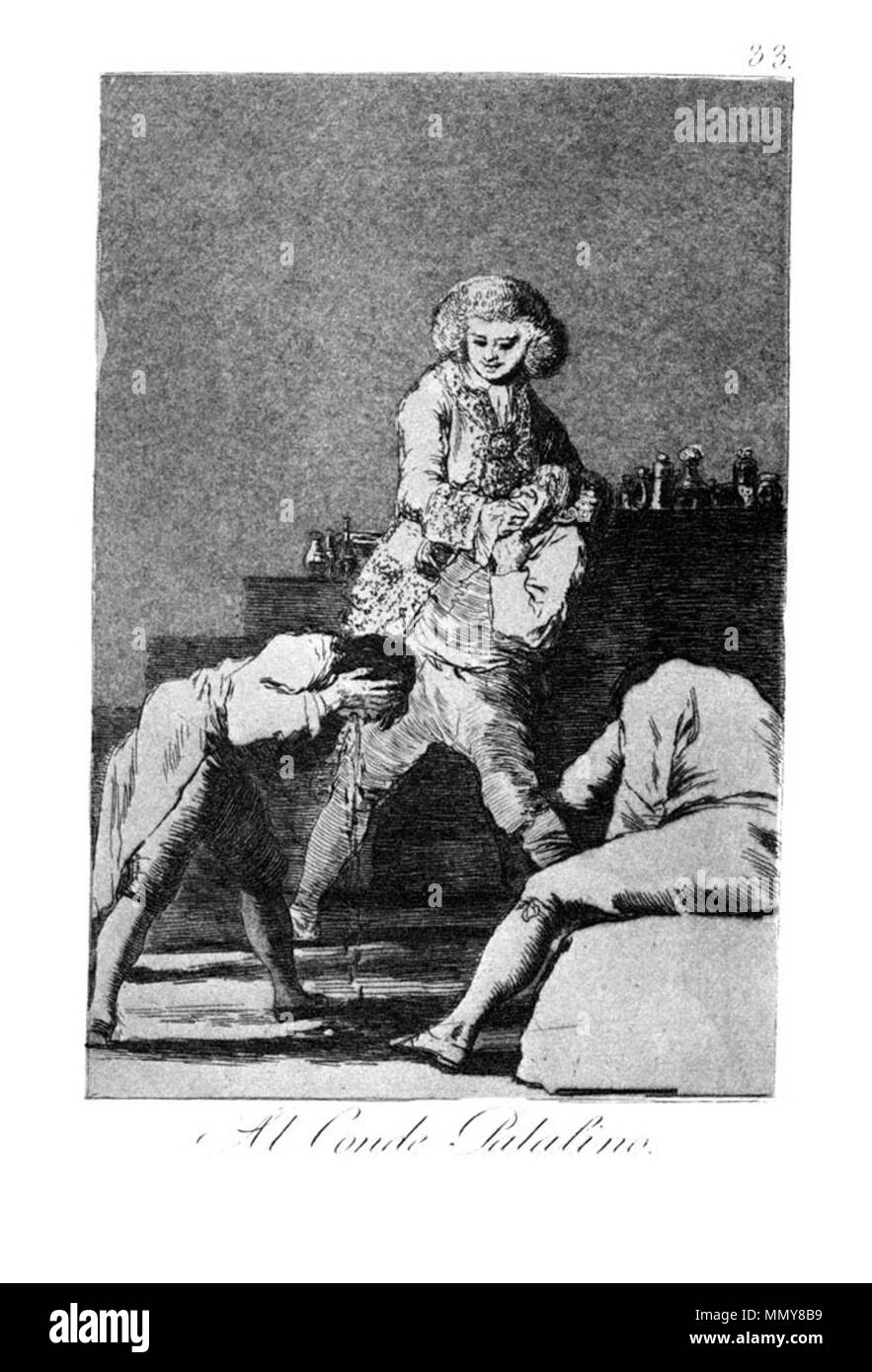 . Los Caprichos is a set of 80 aquatint prints created by Francisco Goya for release in 1799.  . 1799.   Francisco Goya (1746–1828)   Alternative names Francisco Goya Lucientes, Francisco de Goya y Lucientes, Francisco José Goya Lucientes  Description Spanish painter, printmaker, lithographer, engraver and etcher  Date of birth/death 30 March 1746 16 April 1828  Location of birth/death Fuendetodos Bordeaux  Work location Madrid, Zaragoza, Bordeaux  Authority control  : Q5432 VIAF:?54343141 ISNI:?0000 0001 2280 1608 ULAN:?500118936 LCCN:?n79003363 NLA:?36545788 WorldCat Goya - Caprichos (33 - Stock Image
