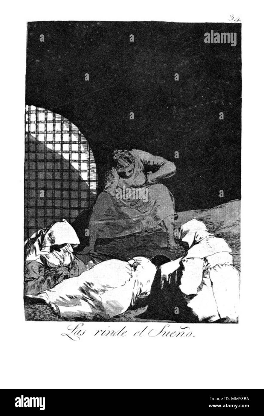. Los Caprichos is a set of 80 aquatint prints created by Francisco Goya for release in 1799.  . 1799.   Francisco Goya (1746–1828)   Alternative names Francisco Goya Lucientes, Francisco de Goya y Lucientes, Francisco José Goya Lucientes  Description Spanish painter, printmaker, lithographer, engraver and etcher  Date of birth/death 30 March 1746 16 April 1828  Location of birth/death Fuendetodos Bordeaux  Work location Madrid, Zaragoza, Bordeaux  Authority control  : Q5432 VIAF:?54343141 ISNI:?0000 0001 2280 1608 ULAN:?500118936 LCCN:?n79003363 NLA:?36545788 WorldCat Goya - Caprichos (34 - Stock Image