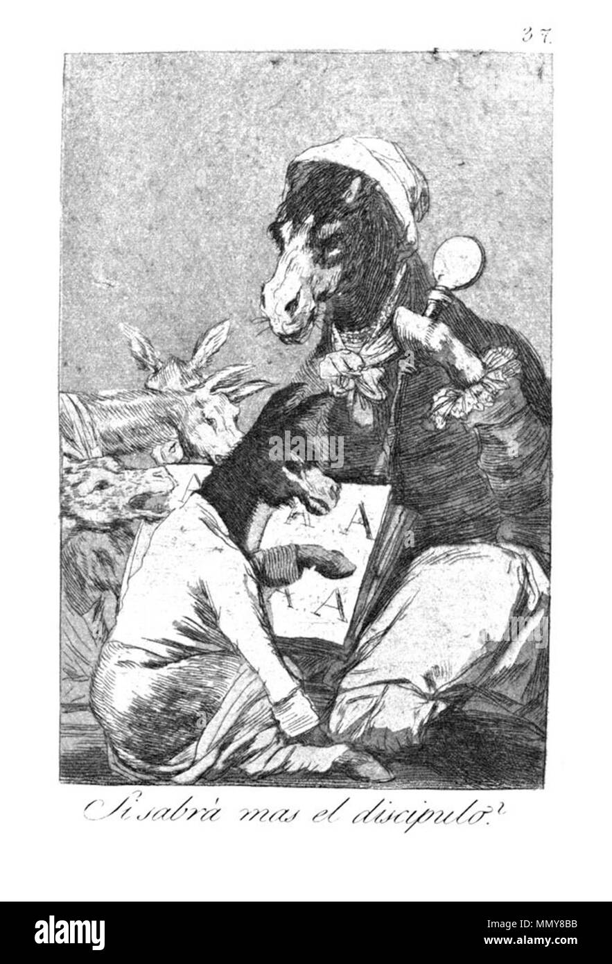. Los Caprichos is a set of 80 aquatint prints created by Francisco Goya for release in 1799.  . 1799.   Francisco Goya (1746–1828)   Alternative names Francisco Goya Lucientes, Francisco de Goya y Lucientes, Francisco José Goya Lucientes  Description Spanish painter, printmaker, lithographer, engraver and etcher  Date of birth/death 30 March 1746 16 April 1828  Location of birth/death Fuendetodos Bordeaux  Work location Madrid, Zaragoza, Bordeaux  Authority control  : Q5432 VIAF:?54343141 ISNI:?0000 0001 2280 1608 ULAN:?500118936 LCCN:?n79003363 NLA:?36545788 WorldCat Goya - Caprichos (37 - Stock Image